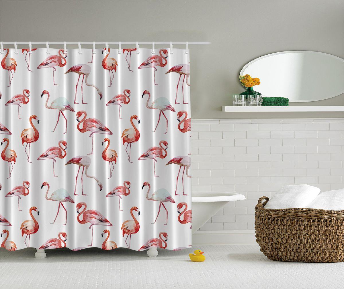 Штора для ванной комнаты Magic Lady Розовый фламинго, 180 х 200 смшв_5105Штора Magic Lady Розовый фламинго, изготовленная из высококачественного сатена (полиэстер 100%), отлично дополнит любой интерьер ванной комнаты. При изготовлении используются специальные гипоаллергенные чернила для прямой печати по ткани, безопасные для человека. В комплекте: 1 штора, 12 крючков. Обращаем ваше внимание, фактический цвет изделия может незначительно отличаться от представленного на фото.