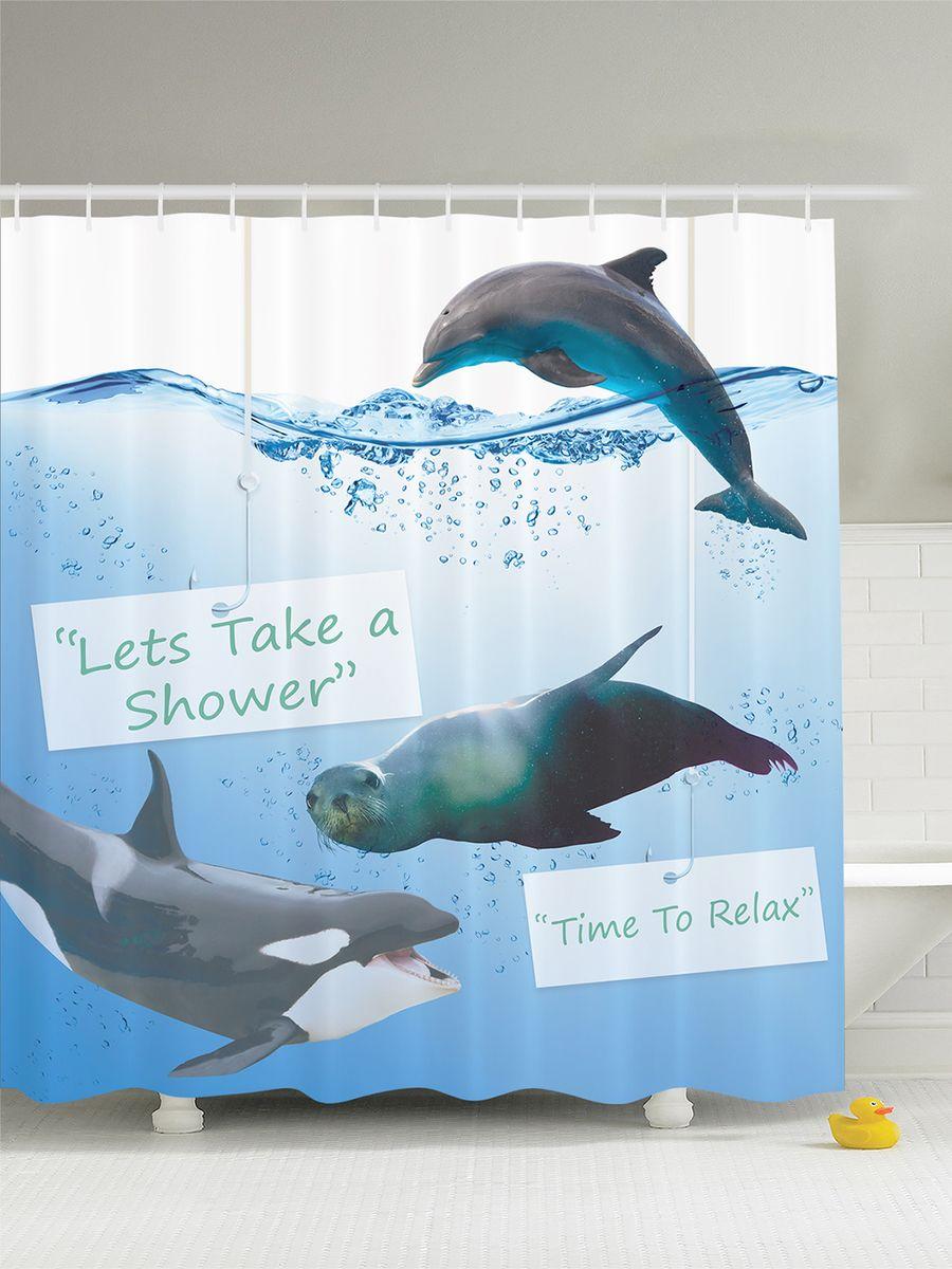 Штора для ванной комнаты Magic Lady Морской лев, касатка и дельфин, 180 х 200 смшв_7488Штора Magic Lady Морской лев, касатка и дельфин, изготовленная из высококачественного сатена (полиэстер 100%), отлично дополнит любой интерьер ванной комнаты. При изготовлении используются специальные гипоаллергенные чернила для прямой печати по ткани, безопасные для человека. В комплекте: 1 штора, 12 крючков. Обращаем ваше внимание, фактический цвет изделия может незначительно отличаться от представленного на фото.