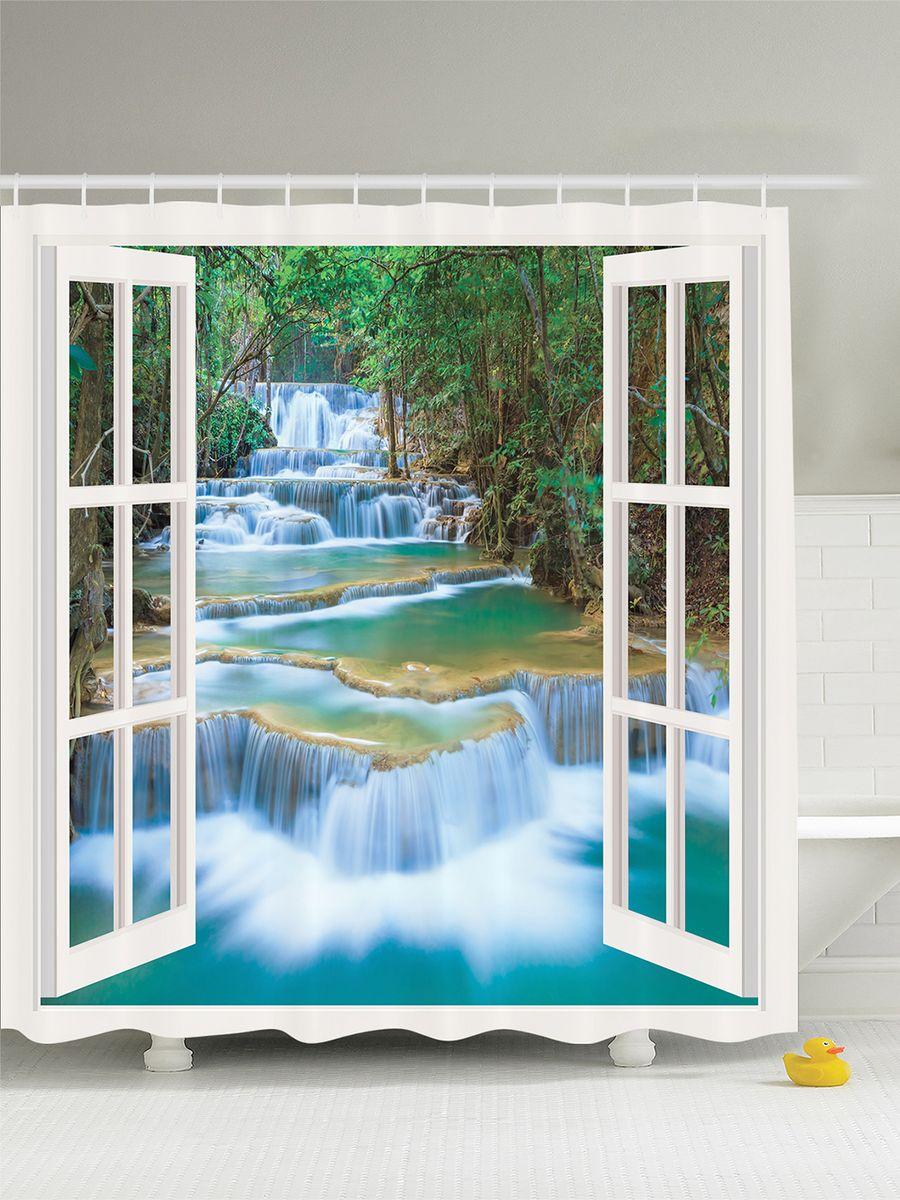 Штора для ванной комнаты Magic Lady Окно с видом на водопад, 180 х 200 смшв_8000Штора Magic Lady Окно с видом на водопад, изготовленная из высококачественного сатена (полиэстер 100%), отлично дополнит любой интерьер ванной комнаты. При изготовлении используются специальные гипоаллергенные чернила для прямой печати по ткани, безопасные для человека. В комплекте: 1 штора, 12 крючков. Обращаем ваше внимание, фактический цвет изделия может незначительно отличаться от представленного на фото.