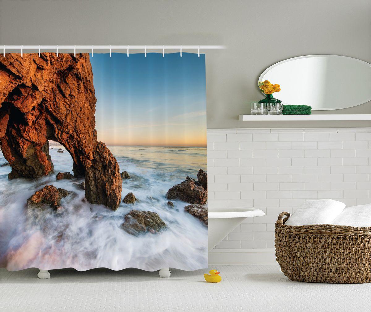 Штора для ванной комнаты Magic Lady Скала в пенном море, 180 х 200 смшв_8243Штора Magic Lady Скала в пенном море, изготовленная из высококачественного сатена (полиэстер 100%), отлично дополнит любой интерьер ванной комнаты. При изготовлении используются специальные гипоаллергенные чернила для прямой печати по ткани, безопасные для человека. В комплекте: 1 штора, 12 крючков. Обращаем ваше внимание, фактический цвет изделия может незначительно отличаться от представленного на фото.