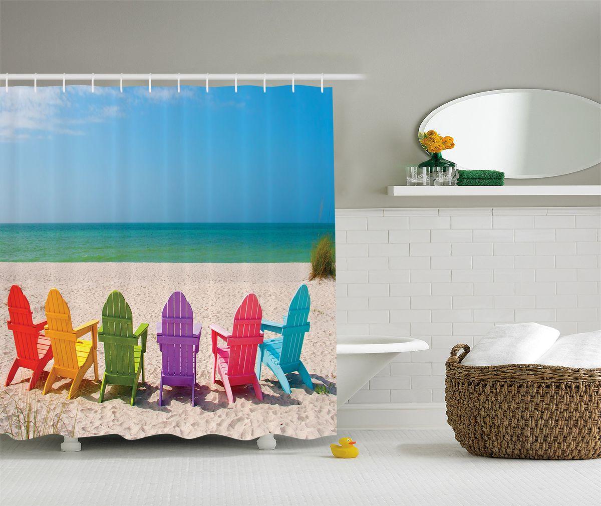 Штора для ванной комнаты Magic Lady Разноцветные шезлонги, 180 х 200 смшв_8244Штора Magic Lady Разноцветные шезлонги, изготовленная из высококачественного сатена (полиэстер 100%), отлично дополнит любой интерьер ванной комнаты. При изготовлении используются специальные гипоаллергенные чернила для прямой печати по ткани, безопасные для человека. В комплекте: 1 штора, 12 крючков. Обращаем ваше внимание, фактический цвет изделия может незначительно отличаться от представленного на фото.