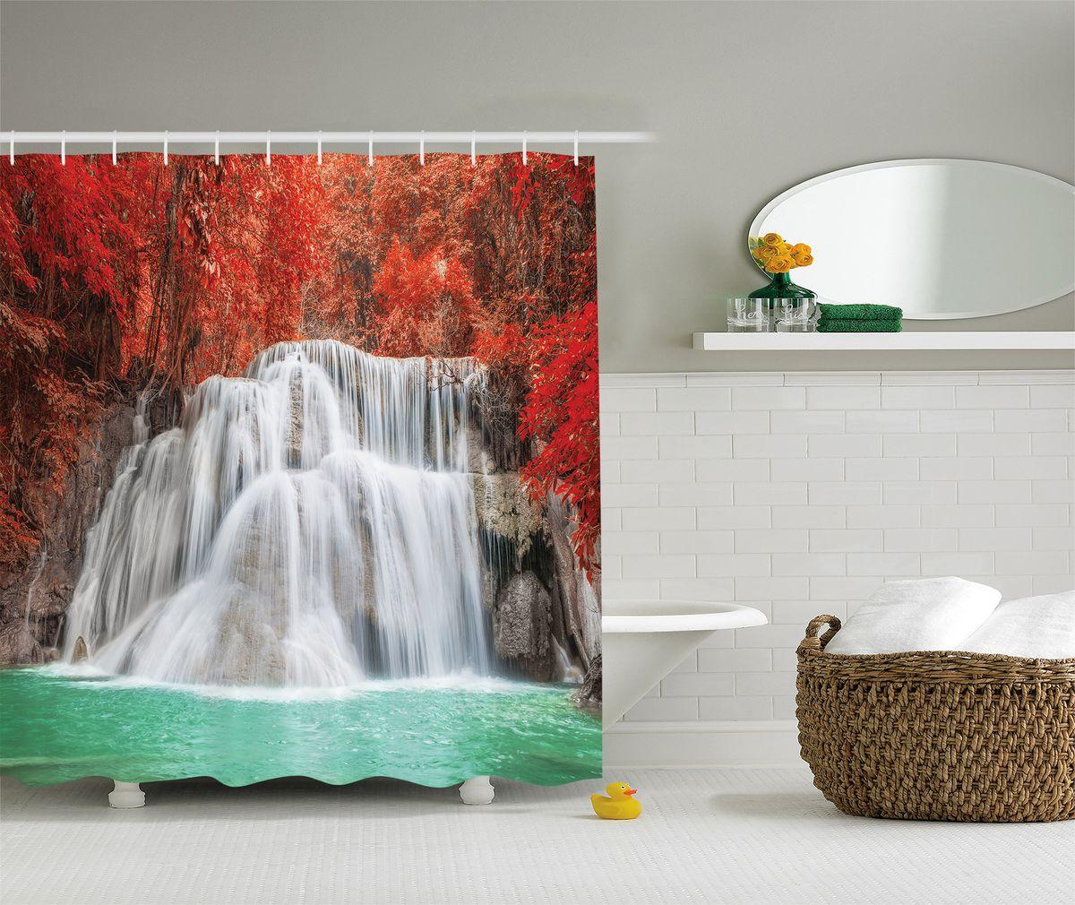 Штора для ванной комнаты Magic Lady Водопад в красном лесу, 180 х 200 смшв_8252Штора Magic Lady Водопад в красном лесу, изготовленная из высококачественного сатена (полиэстер 100%), отлично дополнит любой интерьер ванной комнаты. При изготовлении используются специальные гипоаллергенные чернила для прямой печати по ткани, безопасные для человека. В комплекте: 1 штора, 12 крючков. Обращаем ваше внимание, фактический цвет изделия может незначительно отличаться от представленного на фото.