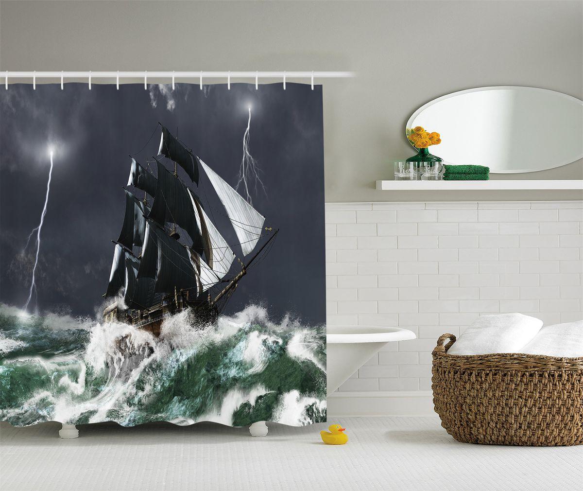 Штора для ванной комнаты Magic Lady Корабль в бурном море, 180 х 200 смшв_8259Штора Magic Lady Корабль в бурном море, изготовленная из высококачественного сатена (полиэстер 100%), отлично дополнит любой интерьер ванной комнаты. При изготовлении используются специальные гипоаллергенные чернила для прямой печати по ткани, безопасные для человека. В комплекте: 1 штора, 12 крючков. Обращаем ваше внимание, фактический цвет изделия может незначительно отличаться от представленного на фото.