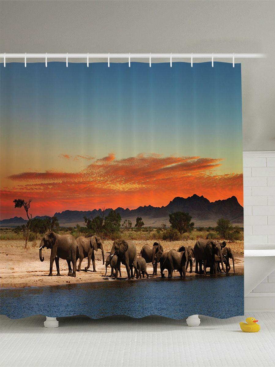 Штора для ванной комнаты Magic Lady Стадо слонов в Африке. Закат на фоне гор, 180 х 200 смшв_8888Штора Magic Lady Стадо слонов в Африке. Закат на фоне гор, изготовленная из высококачественного сатена (полиэстер 100%), отлично дополнит любой интерьер ванной комнаты. При изготовлении используются специальные гипоаллергенные чернила для прямой печати по ткани, безопасные для человека. В комплекте: 1 штора, 12 крючков. Обращаем ваше внимание, фактический цвет изделия может незначительно отличаться от представленного на фото.