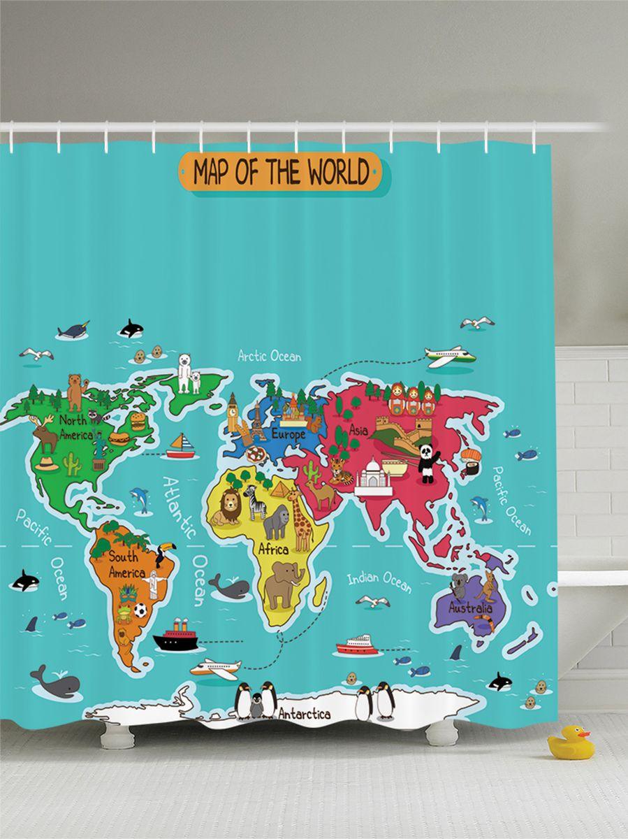 Штора для ванной комнаты Magic Lady Карта мира, 180 х 200 смшв_9055Штора Magic Lady Карта мира, изготовленная из высококачественного сатена (полиэстер 100%), отлично дополнит любой интерьер ванной комнаты. При изготовлении используются специальные гипоаллергенные чернила для прямой печати по ткани, безопасные для человека. В комплекте: 1 штора, 12 крючков. Обращаем ваше внимание, фактический цвет изделия может незначительно отличаться от представленного на фото.