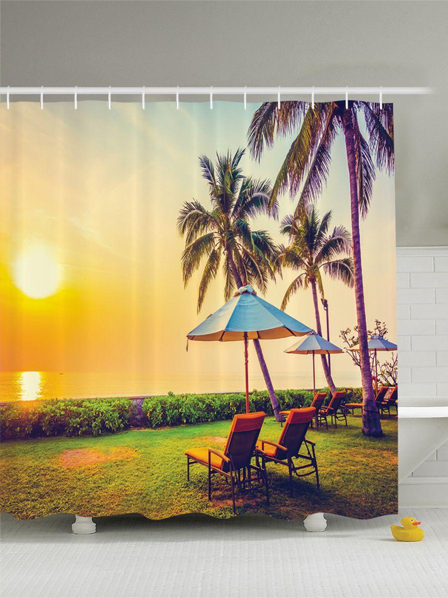 Штора для ванной комнаты Magic Lady Вечер под пальмами на лежаках с зонтиками, 180 х 200 смшв_9355Штора Magic Lady Вечер под пальмами на лежаках с зонтиками, изготовленная из высококачественного сатена (полиэстер 100%), отлично дополнит любой интерьер ванной комнаты. При изготовлении используются специальные гипоаллергенные чернила для прямой печати по ткани, безопасные для человека. В комплекте: 1 штора, 12 крючков. Обращаем ваше внимание, фактический цвет изделия может незначительно отличаться от представленного на фото.