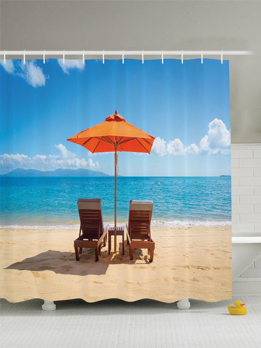 Штора для ванной комнаты Magic Lady Лежаки на песчаном пляже у моря под зонтами, 180 х 200 смшв_9387Штора Magic Lady Лежаки на песчаном пляже у моря под зонтами, изготовленная из высококачественного сатена (полиэстер 100%), отлично дополнит любой интерьер ванной комнаты. При изготовлении используются специальные гипоаллергенные чернила для прямой печати по ткани, безопасные для человека. В комплекте: 1 штора, 12 крючков. Обращаем ваше внимание, фактический цвет изделия может незначительно отличаться от представленного на фото.