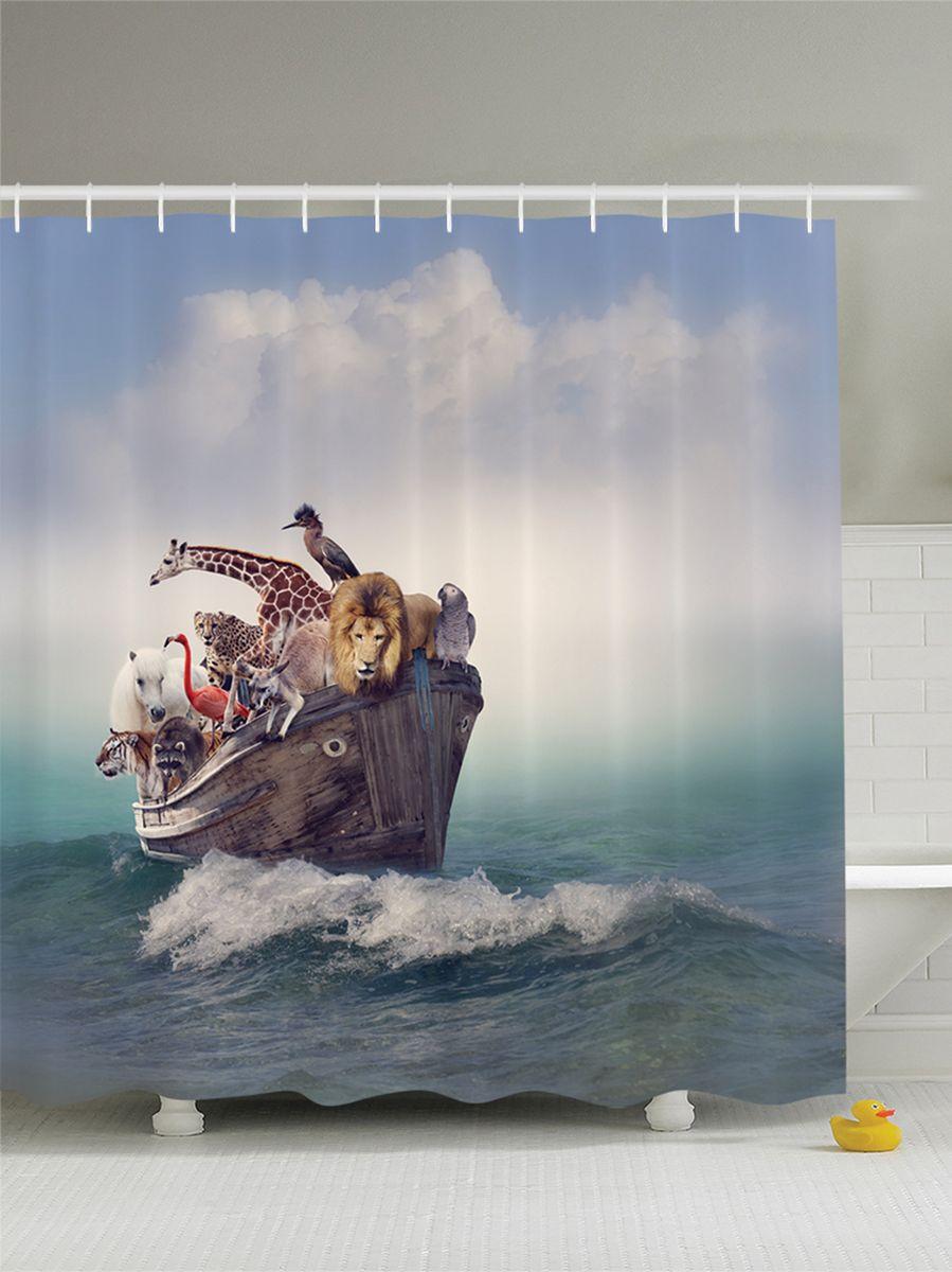 Штора для ванной комнаты Magic Lady Ковчег Ноя с животными, 180 х 200 смшв_9430Штора Magic Lady Ковчег Ноя с животными, изготовленная из высококачественного сатена (полиэстер 100%), отлично дополнит любой интерьер ванной комнаты. При изготовлении используются специальные гипоаллергенные чернила для прямой печати по ткани, безопасные для человека. В комплекте: 1 штора, 12 крючков. Обращаем ваше внимание, фактический цвет изделия может незначительно отличаться от представленного на фото.