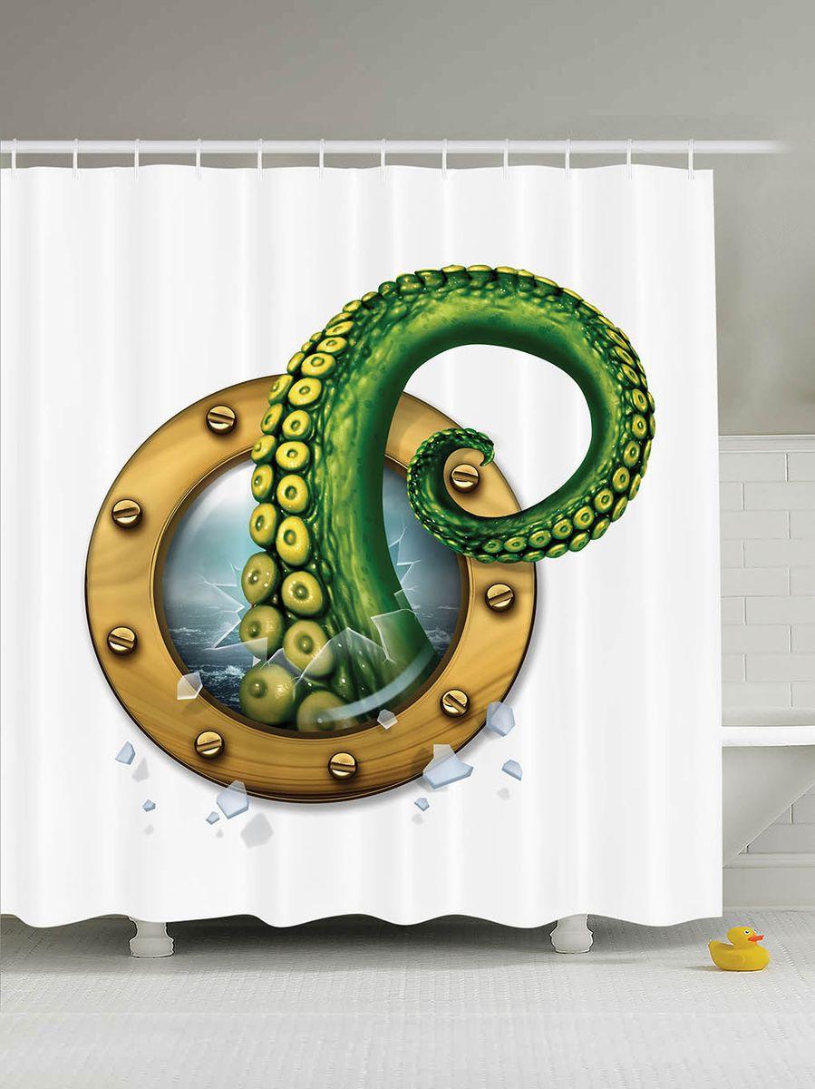 Штора для ванной комнаты Magic Lady Щупальце осьминога, 180 х 200 смшв_9498Штора Magic Lady Щупальце осьминога, изготовленная из высококачественного сатена (полиэстер 100%), отлично дополнит любой интерьер ванной комнаты. При изготовлении используются специальные гипоаллергенные чернила для прямой печати по ткани, безопасные для человека. В комплекте: 1 штора, 12 крючков. Обращаем ваше внимание, фактический цвет изделия может незначительно отличаться от представленного на фото.