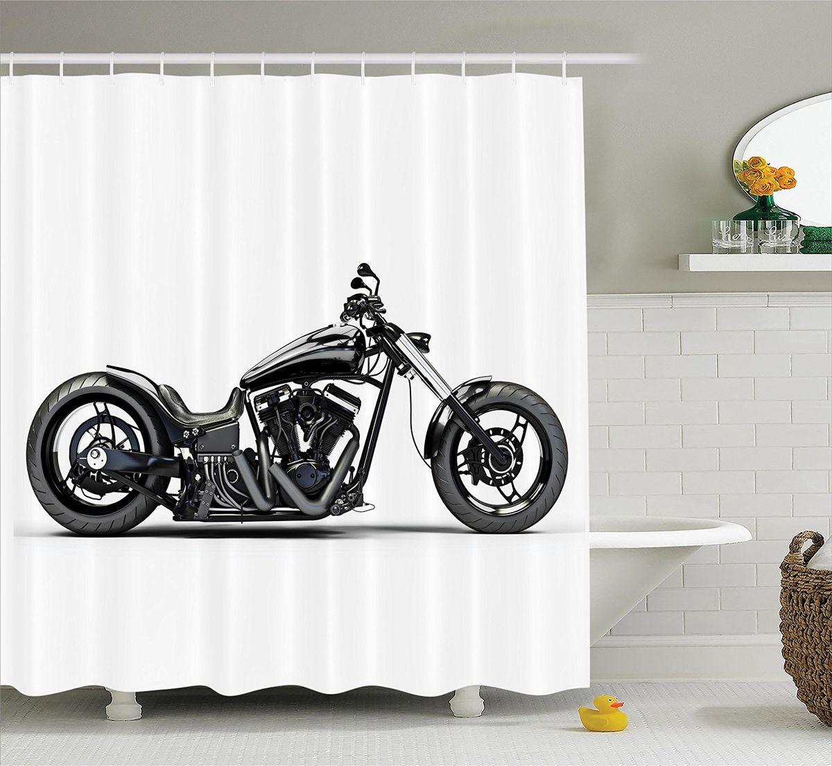 Штора для ванной комнаты Magic Lady Черный мотоцикл, 180 х 200 смшв__9937Штора Magic Lady Черный мотоцикл, изготовленная из высококачественного сатена (полиэстер 100%), отлично дополнит любой интерьер ванной комнаты. При изготовлении используются специальные гипоаллергенные чернила для прямой печати по ткани, безопасные для человека. В комплекте: 1 штора, 12 крючков. Обращаем ваше внимание, фактический цвет изделия может незначительно отличаться от представленного на фото.