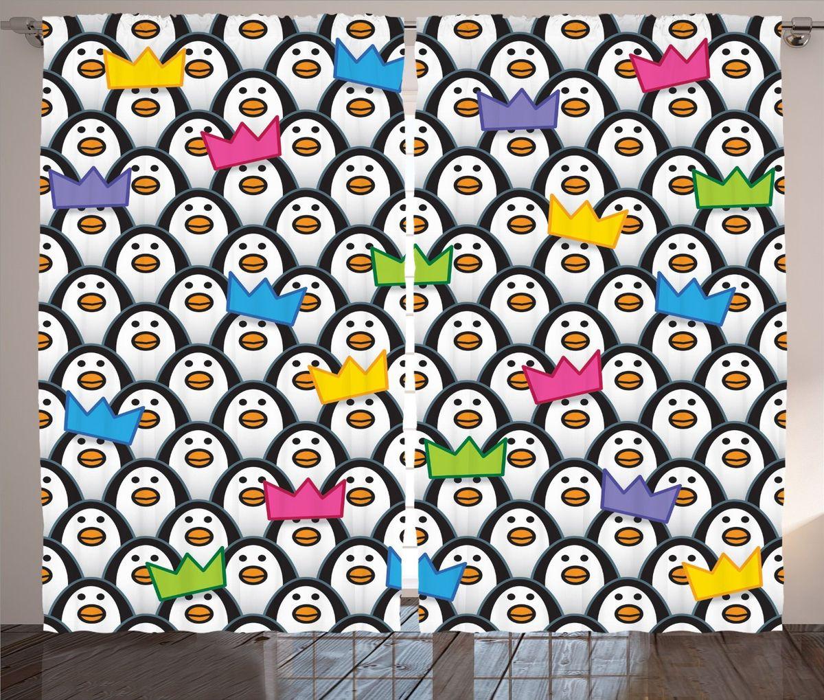 Комплект фотоштор Magic Lady Императорские пингвины, на ленте, высота 265 смшсг_11864Фотошторы Magic Lady Императорские пингвины, изготовленные из высококачественного сатена (полиэстер 100%), отлично дополнят любой интерьер. При изготовлении используются специальные гипоаллергенные чернила для прямой печати по ткани, безопасные для человека и животных. Крепление на карниз при помощи шторной ленты на крючки. В комплекте 2 шторы, 50 крючков. Ширина одного полотна: 145 см. Высота штор: 265 см. Изображение на мониторе может немного отличаться от реального.