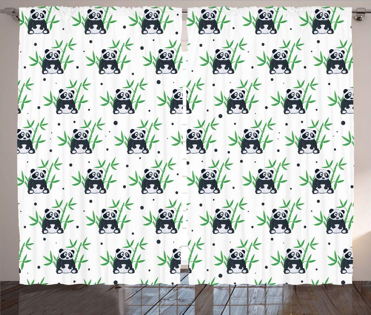 Комплект фотоштор Magic Lady Панды и бамбук, на ленте, высота 265 смшсг_12186Фотошторы Magic Lady Панды и бамбук, изготовленные из высококачественного сатена (полиэстер 100%), отлично дополнят любой интерьер. При изготовлении используются специальные гипоаллергенные чернила для прямой печати по ткани, безопасные для человека и животных. Крепление на карниз при помощи шторной ленты на крючки. В комплекте 2 шторы, 50 крючков. Ширина одного полотна: 145 см. Высота штор: 265 см. Изображение на мониторе может немного отличаться от реального.