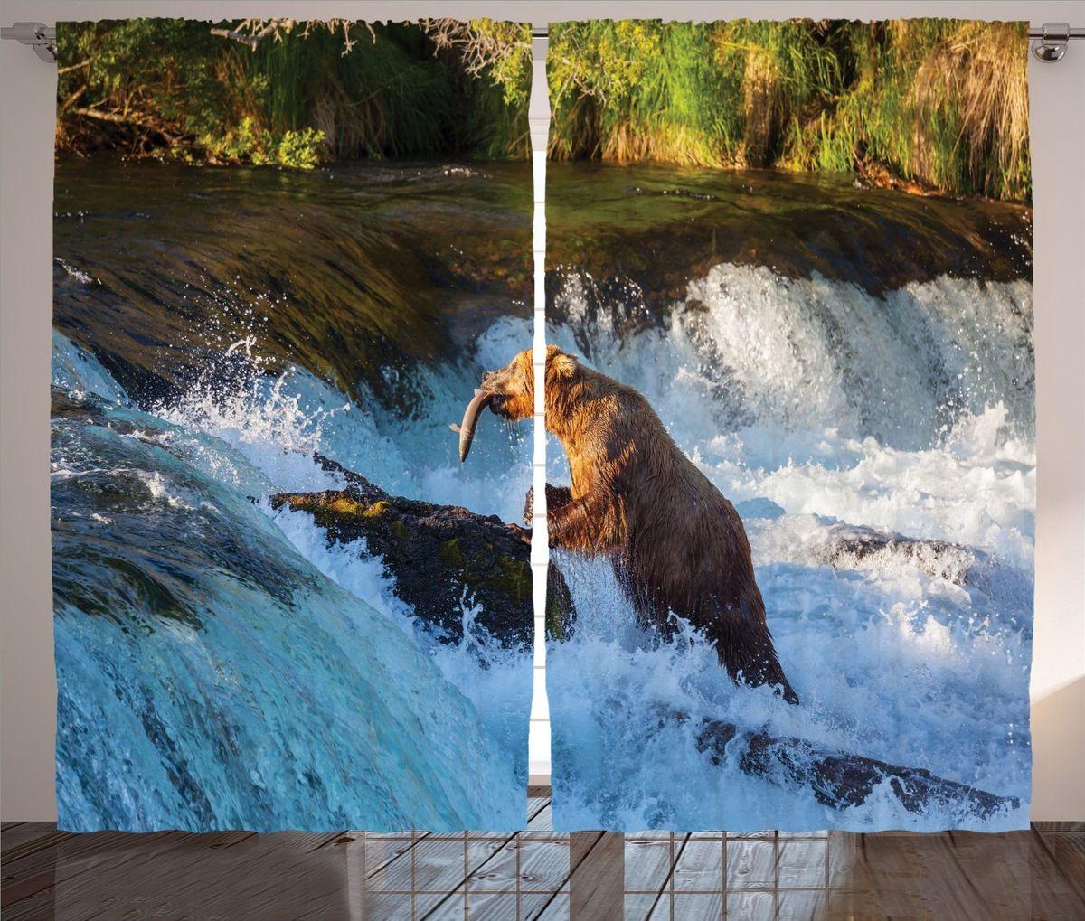 Комплект фотоштор Magic Lady Медведь-рыболов, на ленте, высота 265 смшсг_13899Фотошторы Magic Lady Медведь-рыболов, изготовленные из высококачественного сатена (полиэстер 100%), отлично дополнят любой интерьер. При изготовлении используются специальные гипоаллергенные чернила для прямой печати по ткани, безопасные для человека и животных. Крепление на карниз при помощи шторной ленты на крючки. В комплекте 2 шторы, 50 крючков. Ширина одного полотна: 145 см. Высота штор: 265 см. Изображение на мониторе может немного отличаться от реального.