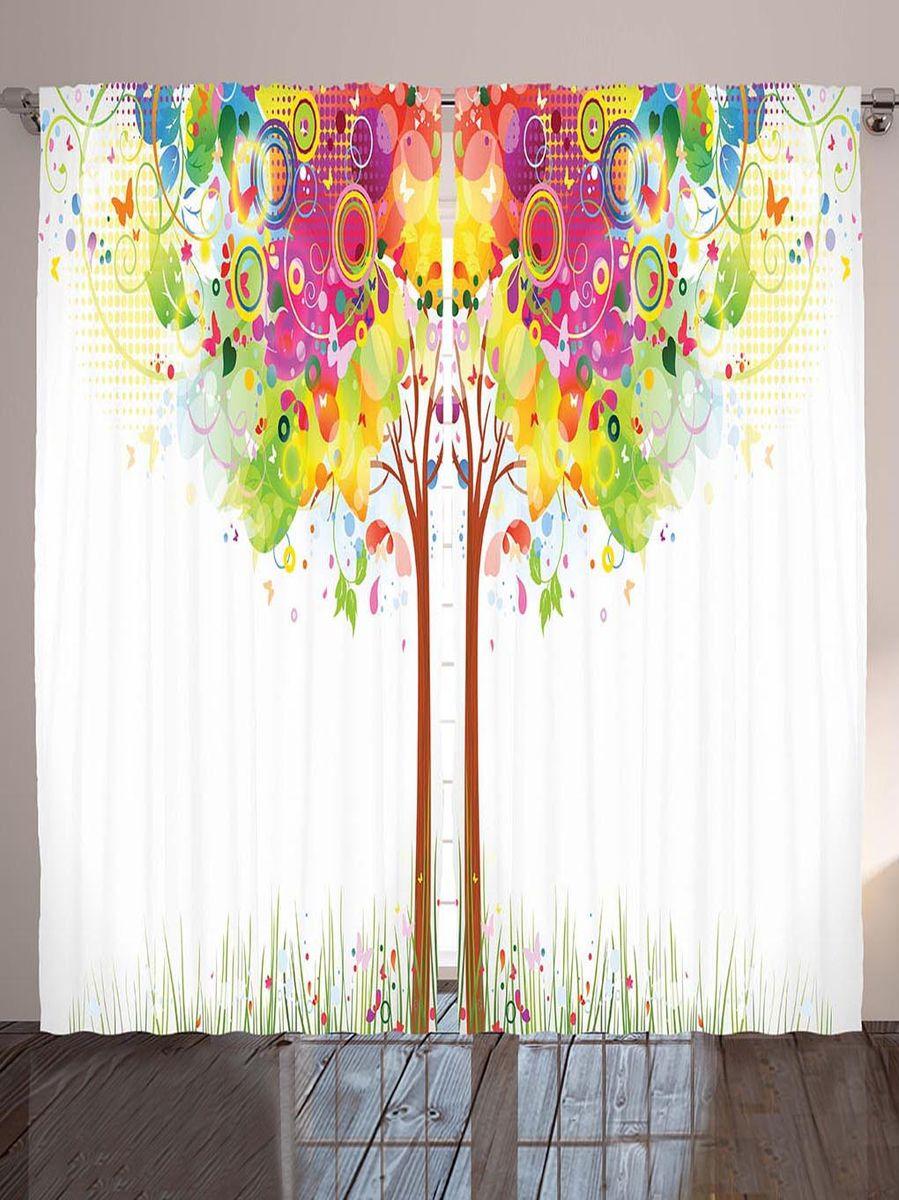 Комплект фотоштор Magic Lady Волшебное дерево, на ленте, высота 265 смшсг_2926Фотошторы Magic Lady Волшебное дерево, изготовленные из высококачественного сатена (полиэстер 100%), отлично дополнят любой интерьер. При изготовлении используются специальные гипоаллергенные чернила для прямой печати по ткани, безопасные для человека и животных. Крепление на карниз при помощи шторной ленты на крючки. В комплекте 2 шторы, 50 крючков. Ширина одного полотна: 145 см. Высота штор: 265 см. Изображение на мониторе может немного отличаться от реального.