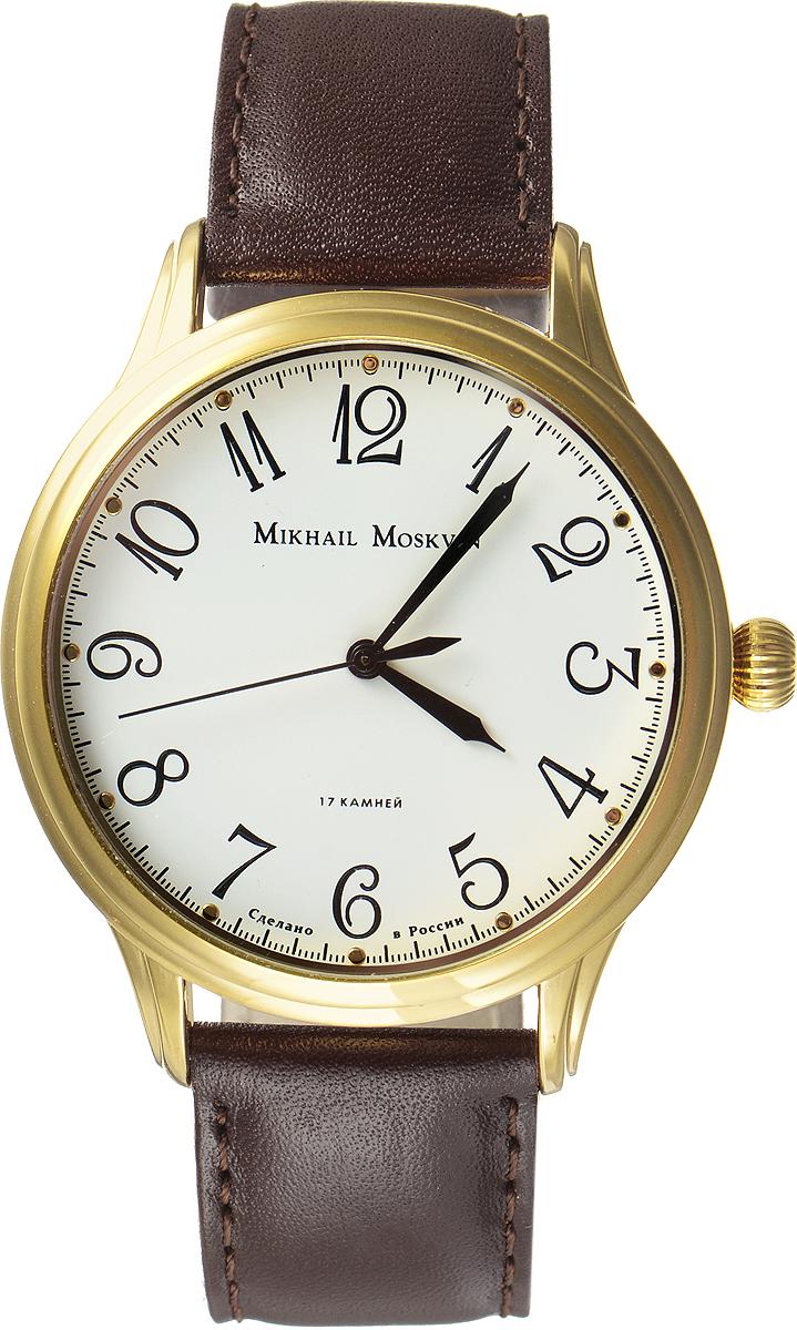 Часы наручные мужские Mikhail Moskvin, цвет: золотой, коричневый. 1113A2L61113A2L6Стильные мужские наручные часы сдержанного классического дизайна Mikhail Moskvin изготовлены из высокотехнологичной гипоаллергенной нержавеющей стали и натуральной кожи. Модель органично сочетает в себе технологичность и строгость, оформлена символикой бренда. Для того чтобы защитить циферблат от повреждений в часах используется минеральное стеклом с сапфировым напылением. Для придания стойкости к коррозии и безупречного вида корпус покрыт по современной технологии - ионным напылением золотом высокой пробы. Циферблат изделия оснащен часовой и минутной и секундной стрелками. Часы оснащены надежным механическим механизмом ручного завода, степенью влагозащиты равной 3 Bar. Браслет комплектуется надежной и удобной в использовании застежкой-пряжкой, которая позволит с легкостью снимать и надевать часы, а также регулировать длину браслета. Часы Mikhail Moskvin подчеркнут мужской характер и отменное чувство стиля их обладателя.
