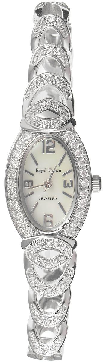 Часы наручные женские Royal Crown, цвет: серебристый. 3651-RDM-53651-RDM-5Изысканные женские часы Royal Crown изготовлены из высокотехнологичной гипоаллергенной нержавеющей стали и латуни. Покрытие корпуса и браслета - палладий с розовым золотом и родием, что придает часам благородный блеск драгоценных металлов. Кварцевый механизм имеет степень влагозащиты равную 3 Bar и дополнен часовой, минутной и секундной стрелками. Корпус часов украшен ободком из цирконов. Браслет выполнен из соединяющихся между собой элементов. Для того чтобы защитить циферблат от повреждений в часах используется высокопрочное минеральное стекло. На белом циферблате отметки и цифры органично сочетаются с маленькими стрелками. Браслет комплектуется надежным и удобным в использовании складным замком, который позволит с легкостью снимать и надевать часы. Часы упакованы в фирменную коробку. Часы Royal Crown подчеркнут изящность женской руки и отменное чувство стиля у их обладательницы.