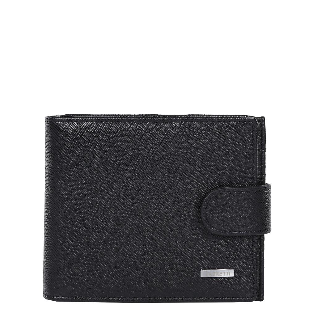 Кошелек мужской Fabretti, цвет: черный. 35023-black saf35023-black safКлассический мужской кошелек от итальянского бренда Fabretti выполнен из натуральной кожи с мягкой фактурой. Насыщенный черный цвет и фурнитура, выполненная в серебряном цвете, превратили аксессуар в модное изделие, которое подчеркнет ваше уникальное чувство стиля. Внутри модели имеется 1 отделение для купюр. Вы с легкостью сможете расположить 8 дисконтных и кредитных карточек, любимую фотографию, а также всю мелочь с помощью удобного кармана. Кошелек закрывается на прочную застежку.