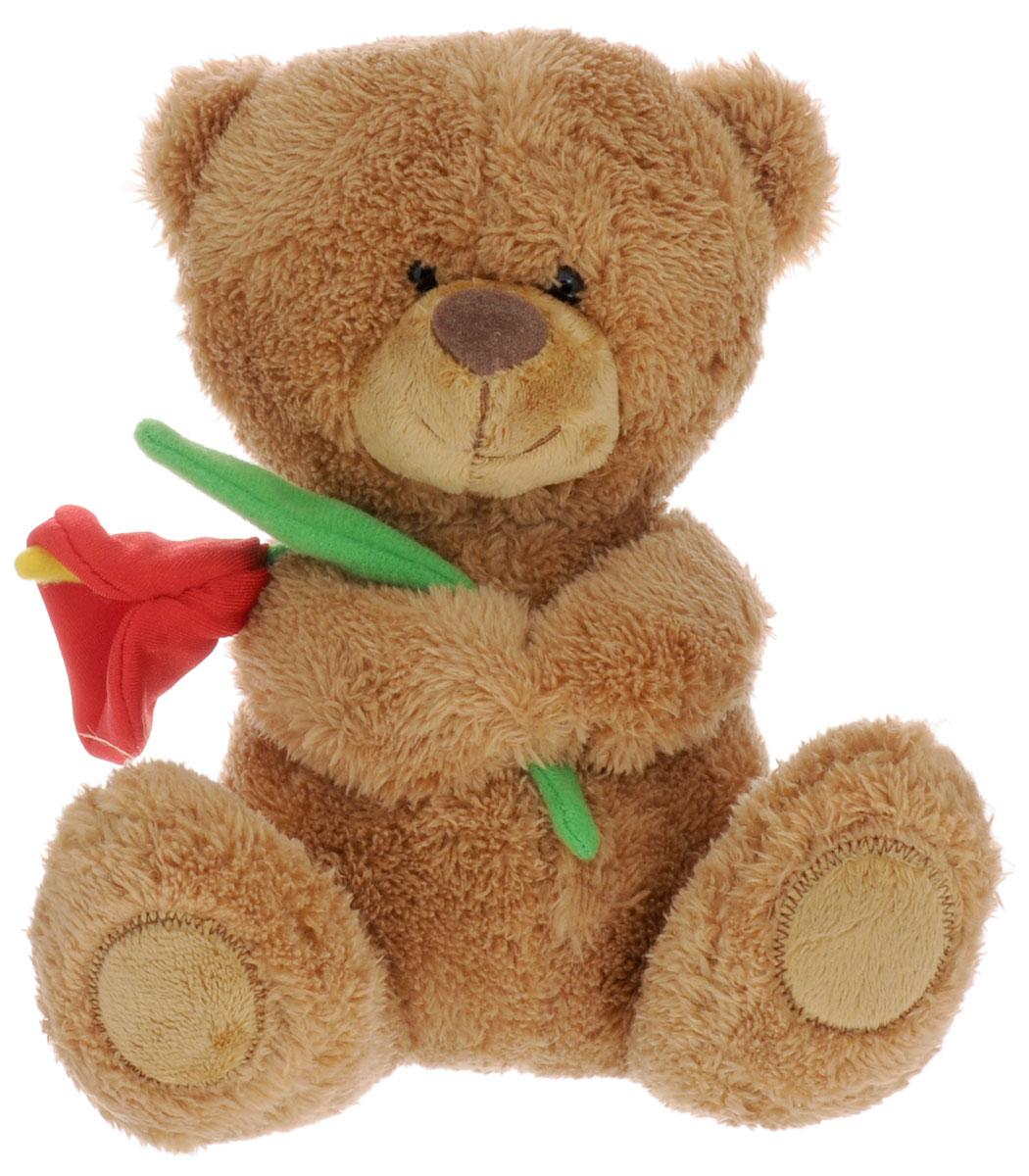 Lava Мягкая озвученная игрушка Медвежонок Сэмми с красной каллой 18 смLA 8733NМягкая озвученная игрушка Lava Медвежонок Сэмми вызовет умиление и улыбку у каждого, кто ее увидит. Игрушка выполнена в виде милого мишки коричневого цвета, держащего в лапах цветок. Игрушка изготовлена из мягкого, приятного на ощупь искусственного меха и текстиля. Нажав на живот мишки, вы услышите замечательную песенку и признание в любви. Удивительно мягкая игрушка принесет радость и подарит своему обладателю мгновения нежных объятий и приятных воспоминаний. Великолепное качество исполнения делают эту игрушку чудесным подарком к любому празднику. Игрушка работает от незаменяемых батареек.