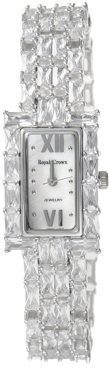 Часы наручные женские Royal Crown, цвет: серебристый. 3793B-RDM-53793B-RDM-5Изысканные женские часы Royal Crown изготовлены из высокотехнологичной гипоаллергенной нержавеющей стали и латуни. Покрытие корпуса и браслета - палладий с розовым золотом и родием, что придает часам благородный блеск драгоценных металлов. Кварцевый механизм имеет степень влагозащиты равную 3 Bar и дополнен часовой, минутной и секундной стрелками. Браслет выполнен из соединяющихся между собой элементов, инкрустированных цирконами. Для того чтобы защитить циферблат от повреждений в часах используется высокопрочное минеральное стекло. Браслет комплектуется надежным и удобным в использовании складным замком, который позволит с легкостью снимать и надевать часы. Часы упакованы в фирменную коробку. Часы Royal Crown подчеркнут изящность женской руки и отменное чувство стиля у их обладательницы.