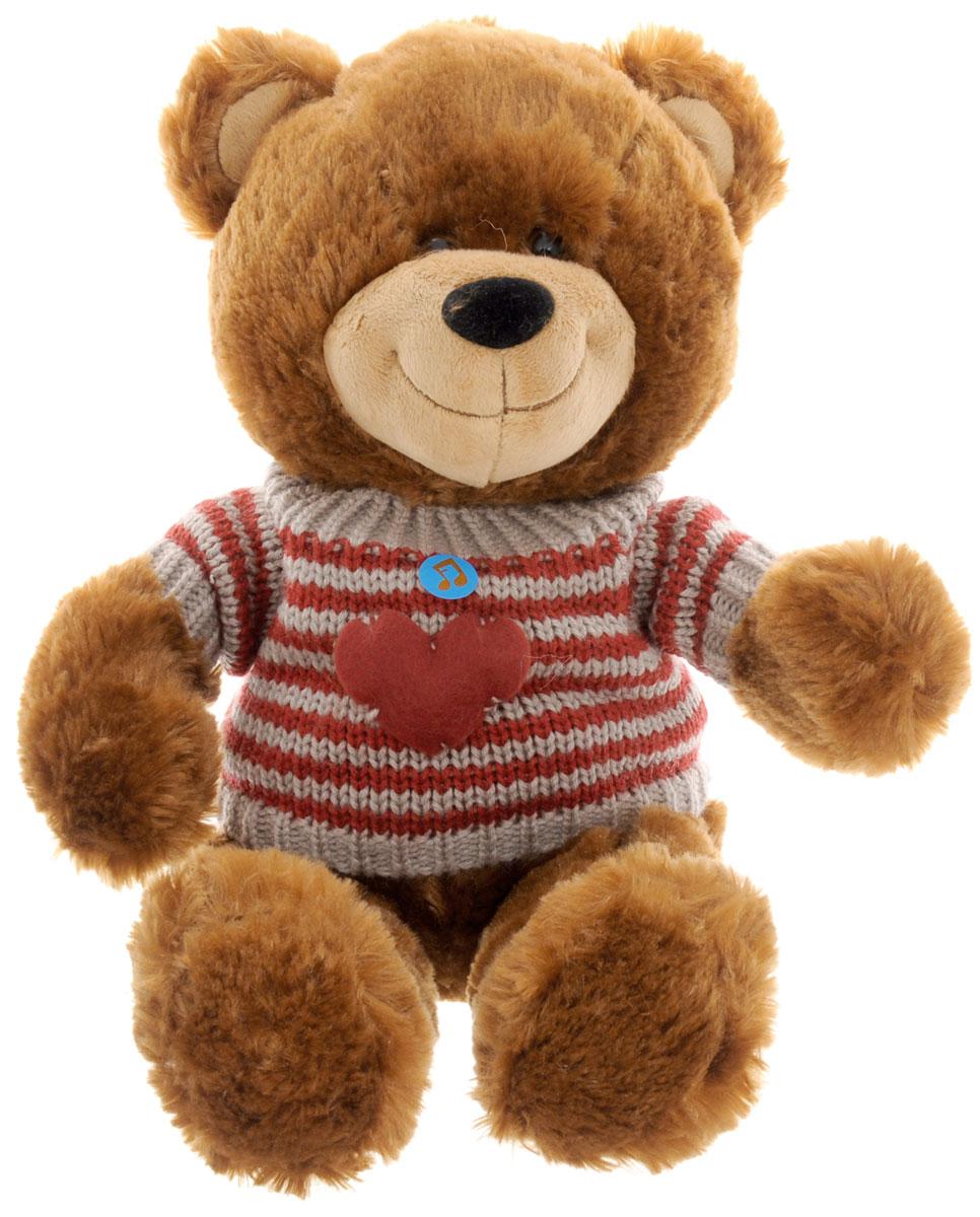 Lava Мягкая озвученная игрушка Медведь Филипп 27 смLF 1070Мягкая озвученная игрушка Lava Медведь Филипп станет поистине незабываемым подарком для каждого ребенка. Мягкая игрушка ассоциируется с радостью и весельем. Забавная, добрая игрушка будет радовать малыша с самого рождения. Игрушка выполнена в виде очаровательного медведя в полосатом свитере. Нажав медвежонку на живот, вы услышите веселую песенку. Мягкие игрушки помогают познавать окружающий мир через тактильные ощущения, знакомят с животным миром нашей планеты, формируют цветовосприятие и способствуют концентрации внимания. Работает игрушка от незаменяемых батареек.