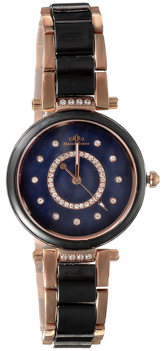 Часы наручные женские Mikhail Moskvin, цвет: золотой, черный. L5005S17B1L5005S17B1Стильные женские наручные часы Mikhail Moskvin изготовлены из высокотехнологичной гипоаллергенной нержавеющей стали и дополнены изящным, высокопрочным керамическим браслетом. Для того чтобы защитить циферблат от повреждений в часах используется высокопрочное сапфировое стекло. Циферблат изделия оснащен часовой, минутной и секундной стрелками, оформлен символикой бренда. Большой, открытый циферблат часов, украшен циркониевыми вставками. Браслет комплектуется надежной и удобной в использовании застежкой-бабочкой, которая позволит с легкостью снимать и надевать часы. Часы упакованы в фирменную коробку. Часы Mikhail Moskvin подчеркнут характер и отменное чувство стиля их обладателя.