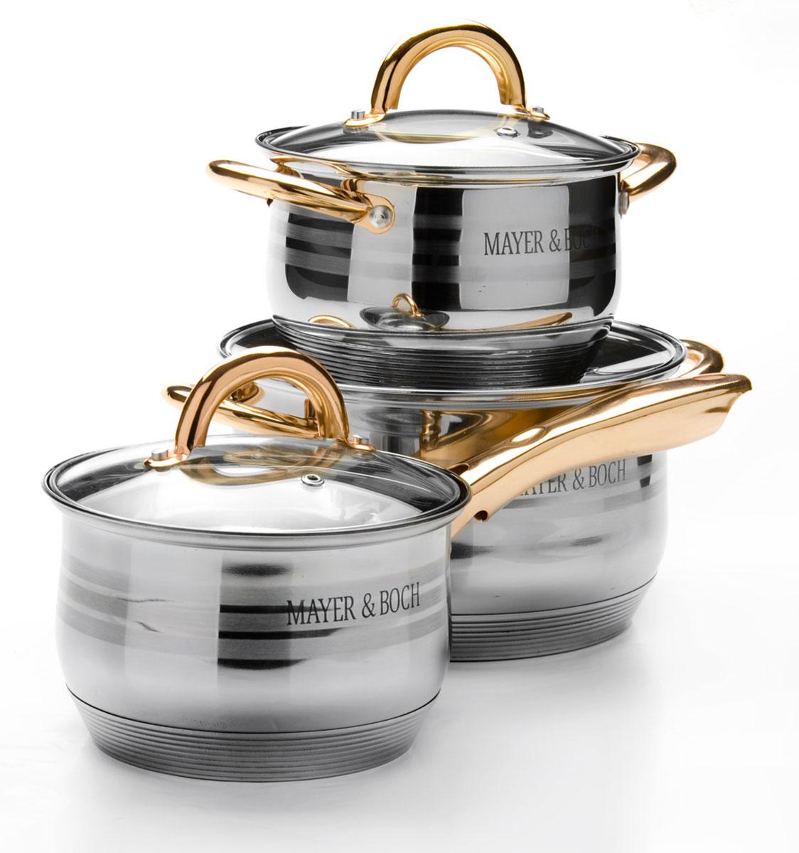 Набор посуды Mayer & Boch, 6 предметов. 2567225672Набор посуды Mayer & Boch состоит из трех кастрюль с крышками. Изделия выполнены из высококачественной многослойной нержавеющей стали 18/10 с зеркальной и матовой полировкой. Этот набор посуды предназначен для здорового и экологичного приготовления пищи. Кастрюли имеют многослойное капсульное дно с алюминиевым основанием, которое быстро и равномерно накапливает тепло и также равномерно передает его пище. Внутренняя поверхность идеально ровная, что значительно облегчает мытье. Крышки, выполненные из термостойкого стекла, имеют отверстие для пара и металлический обод. Крышки плотно прилегают к краям посуды, предотвращая проливание жидкости и сохраняя аромат блюд. Также изделия снабжены эргономичными ручками из стали. Можно использовать на всех типах плит, включая индукционные. Можно мыть в посудомоечной машине. Объем кастрюль: 2,1 л, 2,1 л, 3,9 л. Диаметр кастрюль: 16 см, 16 см, 20 см. Высота стенок кастрюль: 10,5 см, 12,5...