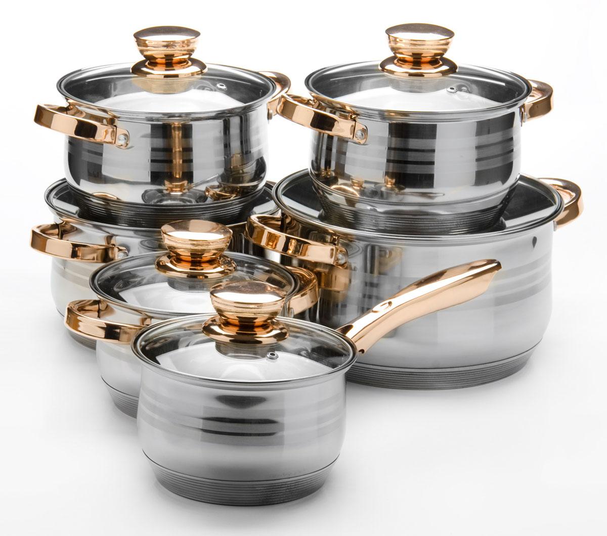 Набор посуды Mayer & Boch, 12 предметов. 26036260362,1+2,1+2,9+2,9+3,9+6,6л.