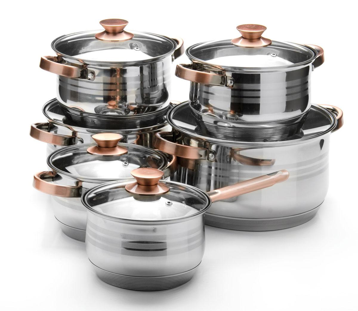 Набор посуды Mayer & Boch, 12 предметов. 26042260422,1+2,1+2,9+2,9+3,9+6