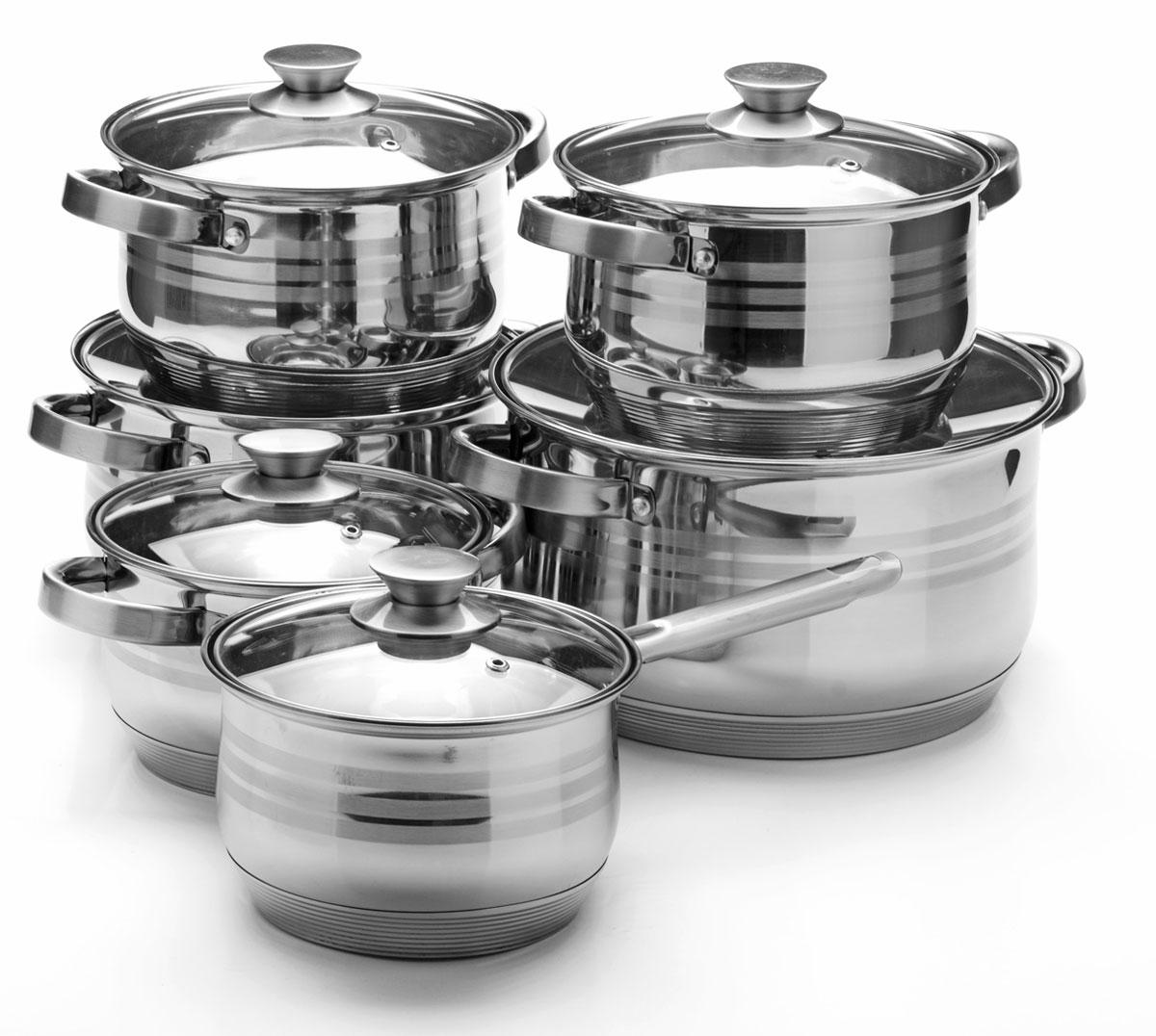 Набор посуды Mayer & Boch, 12 предметов. 2604426044Набор посуды Mayer & Boch состоит из 5 кастрюль с крышками и ковша с крышкой. Посуда выполнена из высококачественной нержавеющей стали с усиленным индукционным дном. Внешняя поверхность посуды с зеркальной полировкой декорирована матовыми полосками. Нержавеющая сталь - это экологически чистый, безопасный для здоровья материал, который не вступает в реакцию с продуктами и не искажает вкус приготовленных блюд. Изделия снабжены крышками из термостойкого стекла с отверстием для выхода пара и металлическим ободом, а также удобными стальными ручками, что придает посуде роскошный внешний вид. Многослойное дно обеспечит быстрый нагрев продуктов и надолго сохранит тепло. Посуда подходит для использования на газовых, электрических, стеклокерамических и галогеновых плитах, кроме индукционных. Подходит для мытья в посудомоечной машине. Диаметр кастрюль (по верхнему краю): 16 см; 18 см; 18 см; 24 см; 26 см. Высота стенки кастрюль:...
