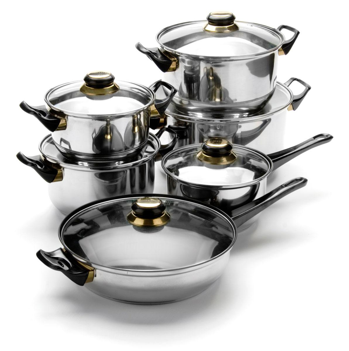 Набор посуды Mayer & Boch, 12 предметов. 607760777+3,6+2,8+1,9+к1,9+ск4л