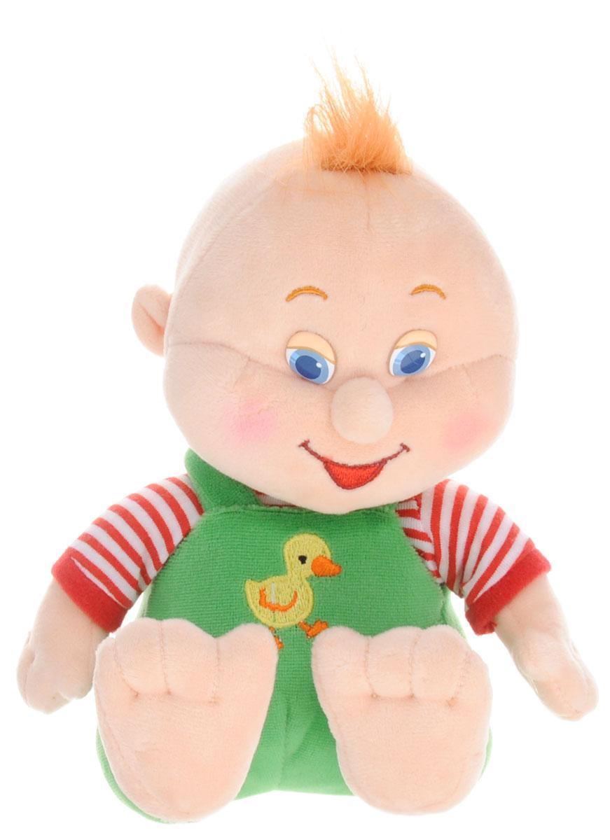 Lava Мягкая озвученная игрушка Малыш в штанишках 18 смLA 8640Мягкая озвученная игрушка Lava Малыш вызовет умиление и улыбку у каждого, кто ее увидит. Она выполнена из приятного на ощупь материала в виде забавного малыша в зеленых штанишках. Если нажать малышу на животик, то он расскажет забавный стишок. Удивительно мягкая игрушка принесет радость и подарит своему обладателю мгновения нежных объятий и приятных воспоминаний. Мягкие игрушки знакомят с животным миром нашей планеты, формируют цветовосприятие и способствуют концентрации внимания. Мягкие игрушки торговой марки Lava станут достойным выбором для вашего ребенка! Работает игрушка от незаменяемых батареек.