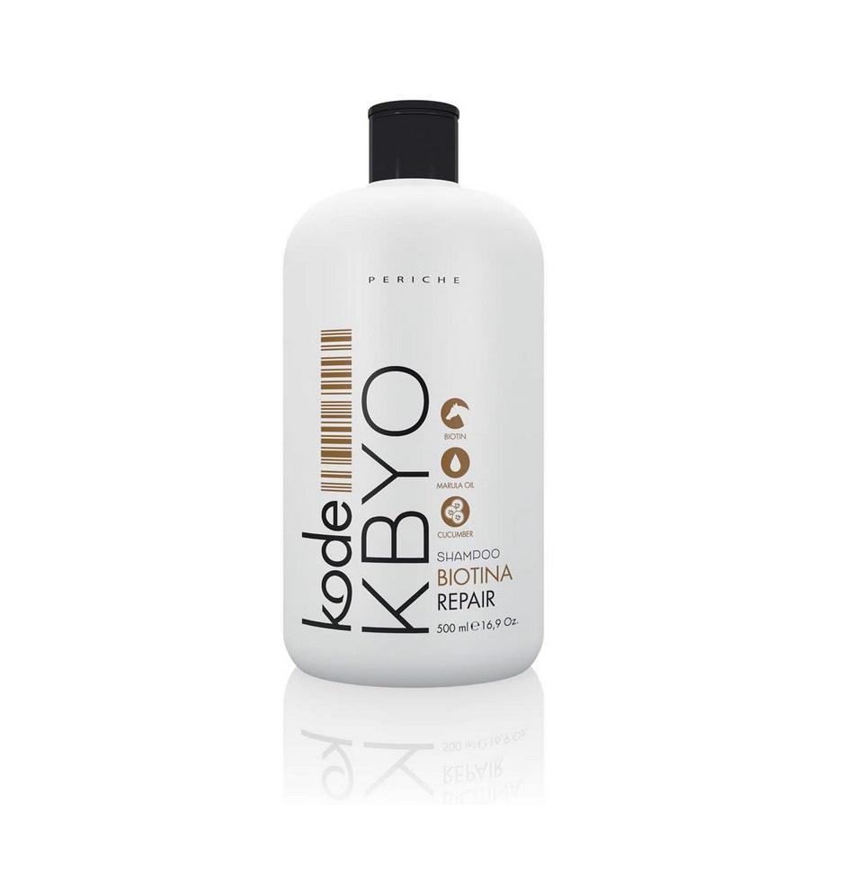 Periche Kode KBYO Shampoo Repair - Шампунь восстанавливающий с биотином 500 мл655535Восстанавливающий шампунь Periche Kode KBYO shampoo repair , в основе которого лежит формула шампуня для лошадей, при постоянном использовании показывает отличные результаты. Шампунь великолепно справляется с наиболее распространенными проблемами волос, такими как потеря естественного блеска и выпадение, благодаря содержанию активного природного компонента биотина, более известного как витамин В7. Биотин является основой структурных элементов волоса. Питая волосяную луковицу, он тем самым, способствует ускоренному росту и укреплению волос, делая их более плотными и густыми. Биотин дарит волосам мягкий уход, обволакивая каждый волос прозрачной пленкой, защищающей его поверхность от повреждений. В результате применения этого косметического средства волосы выглядят более здоровыми и ухоженными. Волосам возвращается естественный природный блеск и шелковистость.