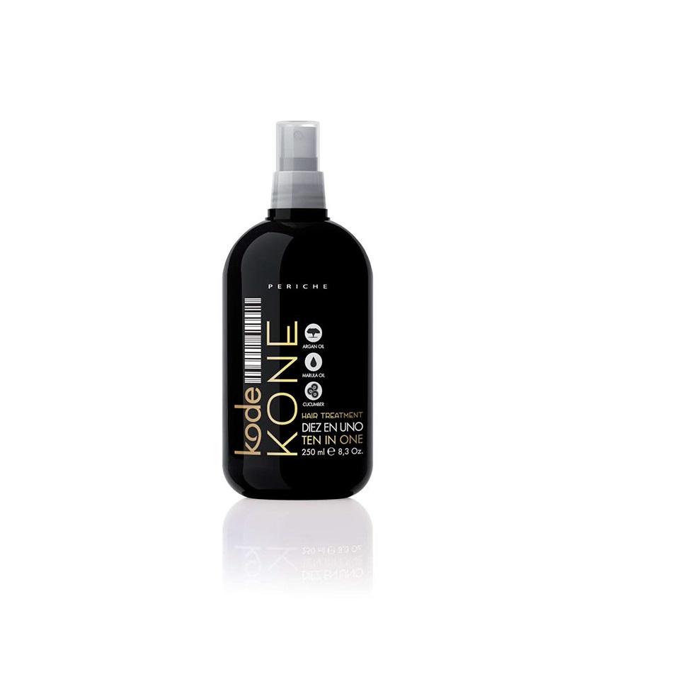 Periche Kode KONE Hair Treatment Ten In One - Несмываемая маска-спрей для волос 10 в 1 250 мл655641Несмываемая маска-спрей для волос 10 в 1 Periche Kode Hair Treatment Ten in One – это профессиональное средство для максимального ухода, питания и восстановления волос. Ее комплексное действие позволяет обеспечить решение 10 основных проблем, чаще всего присущих волосам: -Облегчает укладку непослушных волос; -Возвращает сухим и поврежденным волосам блеск и силу; -Предотвращает спутывание и завивание прядей; -Придает дополнительный объем тонким волосам; -Делает локоны более мягкими, шелковистыми и блестящими; -Защищает волосы во время укладки с использованием высоких температур; -Эффективно препятствует появлению сеченых кончиков; -Упрощает расчесывание длинных тонких волос; -Защищает волосы от UVB лучей; -Способствует длительному сохранению укладки. В основе активного действия маски–спрея Periche Kode лежит сбалансированное сочетание масел марулы и арганы, придающих волосам блеск, силу, эластичность и шелковистость.