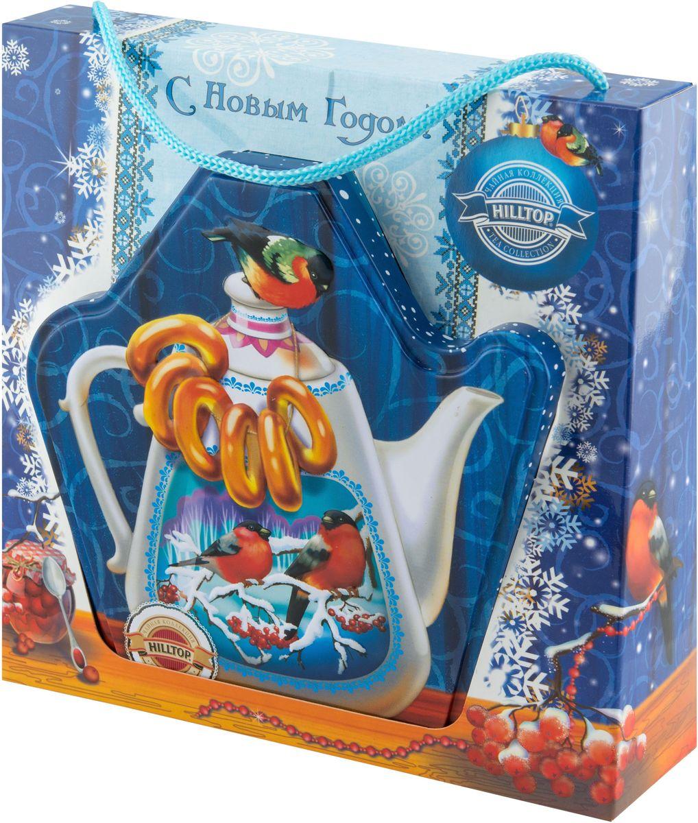 Hilltop Королевское золото. Чайник с баранками чай черный листовой, 80 г4607099307650Черный листовой чай Hilltop Королевское золото. Чайник с баранками станет замечательным подарком и прекрасно подойдет для яркого новогоднего чаепития. На оригинальной подарочной упаковке изображен красивый чайник с баранками, обрамленный морозным узором.