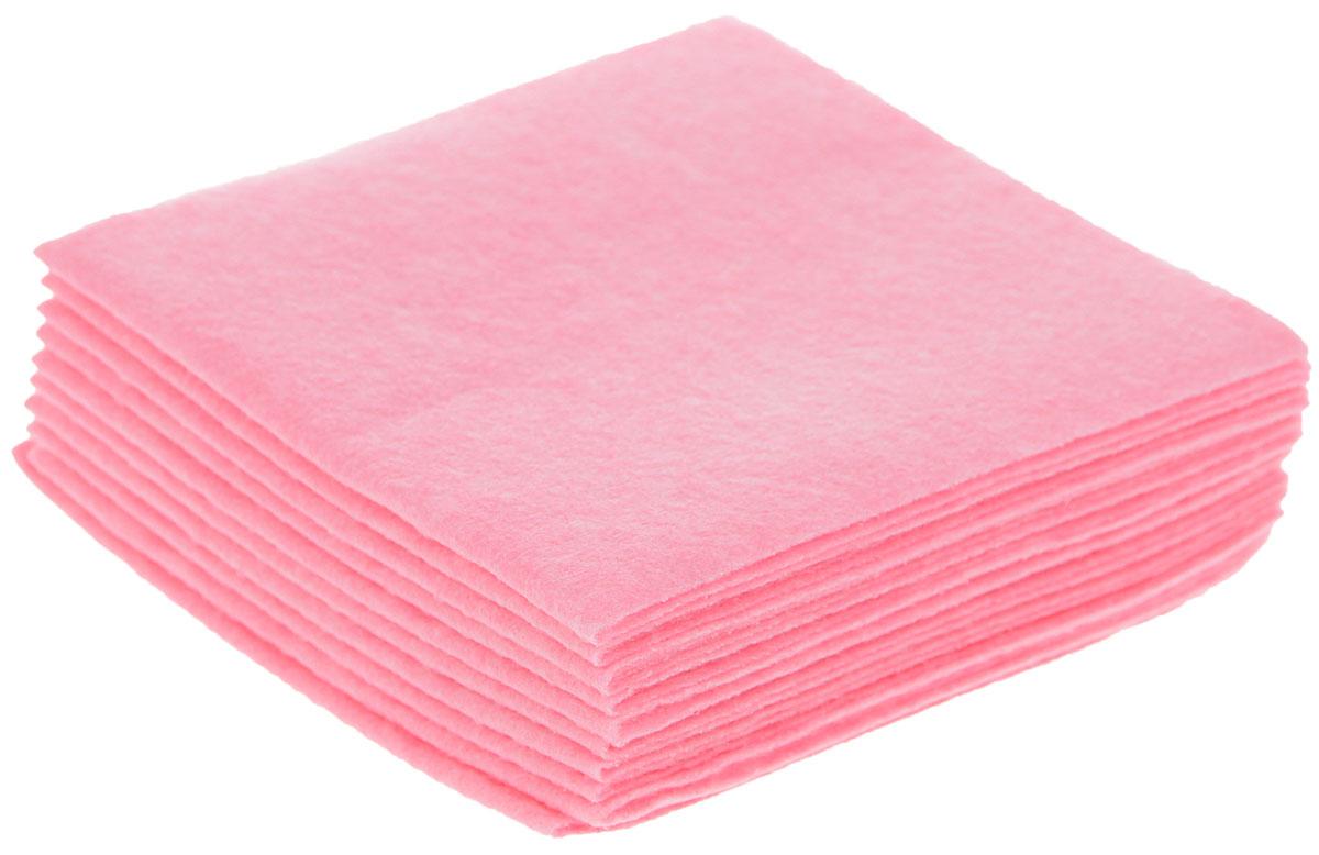 Салфетка для уборки Чистюля Маленькая кухня, цвет: розовый, 25 х 25 см, 10 штС2303_розовыйСалфетки для уборки Чистюля Маленькая кухня, изготовленные из вискозы с добавлением полиэстера, предназначены для мытья любых поверхностей в доме: кухонные столы, плиты, сантехника, кафель, посуда, мебель из любых материалов, бытовая техника. Салфетки отлично очищают любые поверхности, впитывая влагу вместе с грязью, не оставляют ворсинок и разводов. Отстирываются при температуре до +70°С.