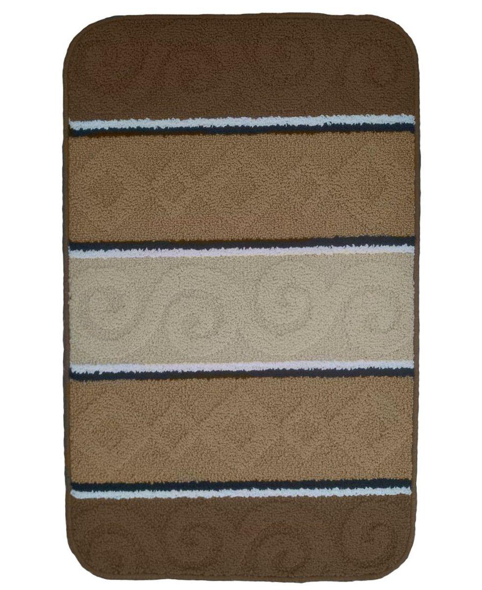 "Коврик для ванной ""Kamalak Tekstil"", цвет: бежевый, 60 х 100 см. УКВ-1016"