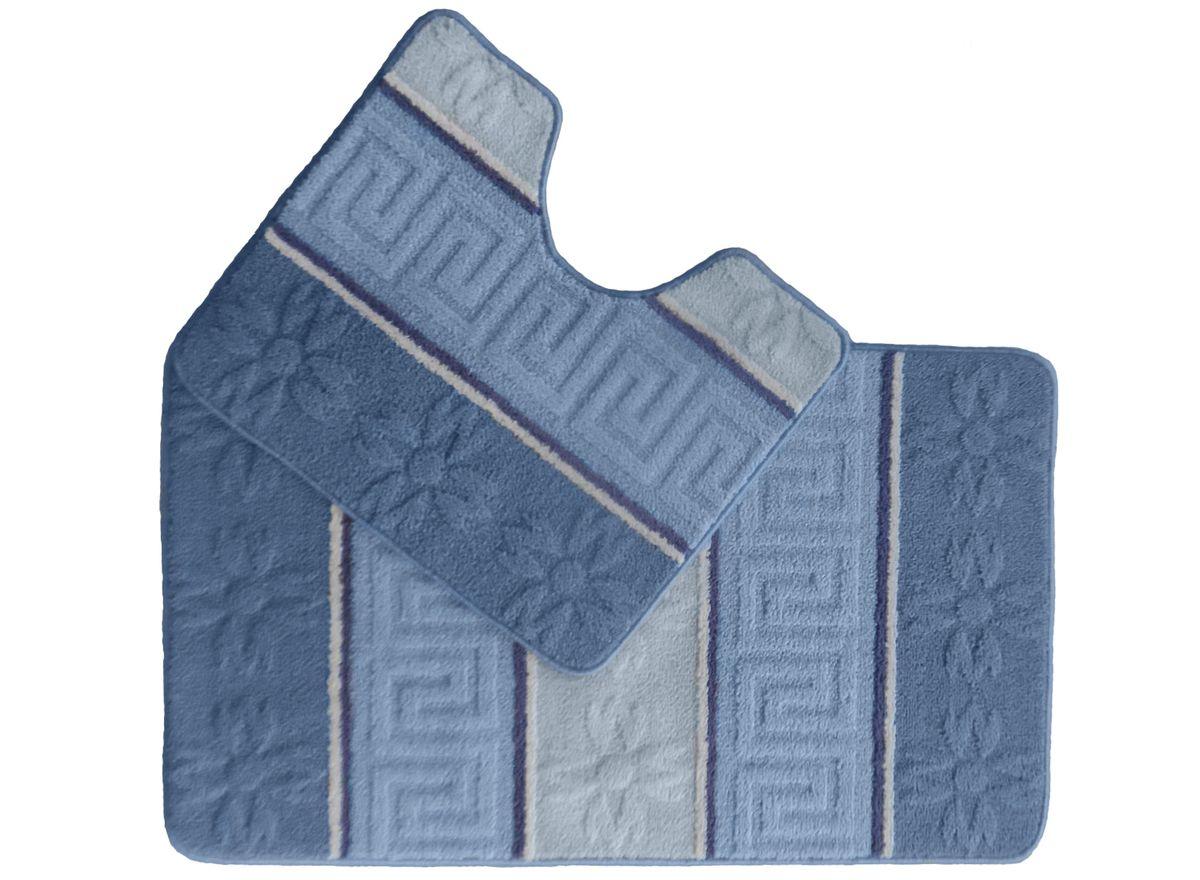 Набор ковриков для ванной комнаты Kamalak Tekstil, цвет: синий, 2 шт. УКВ-1021УКВ-1021Ковры-паласы выполнены из полипропилена. Ковры обладают хорошими показателями теплостойкости и шумоизоляции. Являются гиппоалергенными. За счет невысокого ворса ковры легко чистить. Вам придется по душе широкая гамма цветов и возможность гармонично оформить интерьер. Практичный и устойчивый к износу ворс - от постоянного хождения не истирается, не накапливает статическое электричество. Структура волокна в полипропиленовых моделях гладкая, поэтому грязь не может выесться, на ворсе она скапливается с трудом. Полипропилен не впитывает влагу, отталкивает водянистые пятна. Уход: Самый простой способ избавить изделие от грязи – пропылесосить его с обеих сторон (лицевой и изнаночной). Влажная уборка с применением шампуней и моющих средств не противопоказана. Если шерсти и шёлку универсальные чистящие составы не подходят, то для синтетики они придутся в самый раз. Хранить их нужно рулоном, не складывая «салфеткой». При надлежащем уходе синтетический ковёр прослужит долго, не утратив ни...