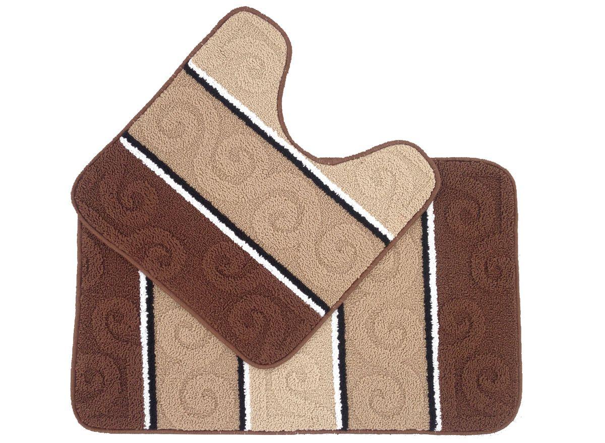 Набор ковриков для ванной комнаты Kamalak Tekstil, цвет: коричневый, 2 шт. УКВ-1025УКВ-1025Ковры-паласы выполнены из полипропилена. Ковры обладают хорошими показателями теплостойкости и шумоизоляции. Являются гиппоалергенными. За счет невысокого ворса ковры легко чистить. Вам придется по душе широкая гамма цветов и возможность гармонично оформить интерьер. Практичный и устойчивый к износу ворс - от постоянного хождения не истирается, не накапливает статическое электричество. Структура волокна в полипропиленовых моделях гладкая, поэтому грязь не может выесться, на ворсе она скапливается с трудом. Полипропилен не впитывает влагу, отталкивает водянистые пятна. Уход: Самый простой способ избавить изделие от грязи – пропылесосить его с обеих сторон (лицевой и изнаночной). Влажная уборка с применением шампуней и моющих средств не противопоказана. Если шерсти и шёлку универсальные чистящие составы не подходят, то для синтетики они придутся в самый раз. Хранить их нужно рулоном, не складывая «салфеткой». При надлежащем уходе синтетический ковёр прослужит долго, не утратив ни...