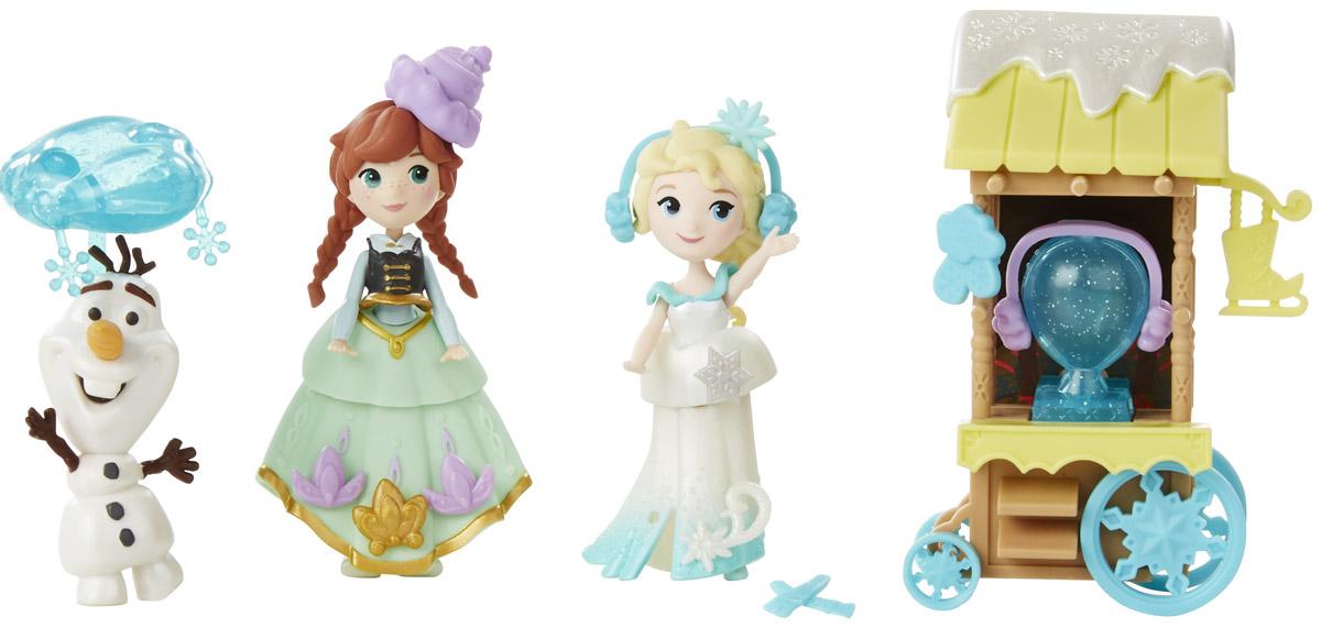 Disney Frozen Игровой набор Холодное торжествоB5193EU4_B5191Набор фигурок Disney Frozen Холодное торжество непременно понравится всем юным поклонницам мультфильма Холодное сердце. Мини-куклы Анна и Эльза в теплых шарфиках и наушниках. Еще одна особенность этих кукол состоит в том, что они оснащены технологией MagiClip. Это означает, что у куколок очень легко снимаются и надеваются их красивые наряды. Чтобы снять или надеть пластиковое платье на такую куколку, его нужно всего лишь разжать или сжать наподобие прищепки. Анна и Эльза могут меняться платьицами друг с другом или с другими куколками с технологией MagiClip. Ручки, ножки и головы кукол подвижные. У принцесс имеется верный друг - снеговик по имени Олаф, которого оживила ледяная магия Эльзы. Олаф - очень милый и жизнерадостный персонаж. Ребенку особенно приятно будет играть с этим набором кукол, куда вошла и фигурка снеговика. В наборе имеется тележка с волшебным снежным шаром внутри. Колеса у тележки крутятся. Порадуйте свою малышку таким замечательным...