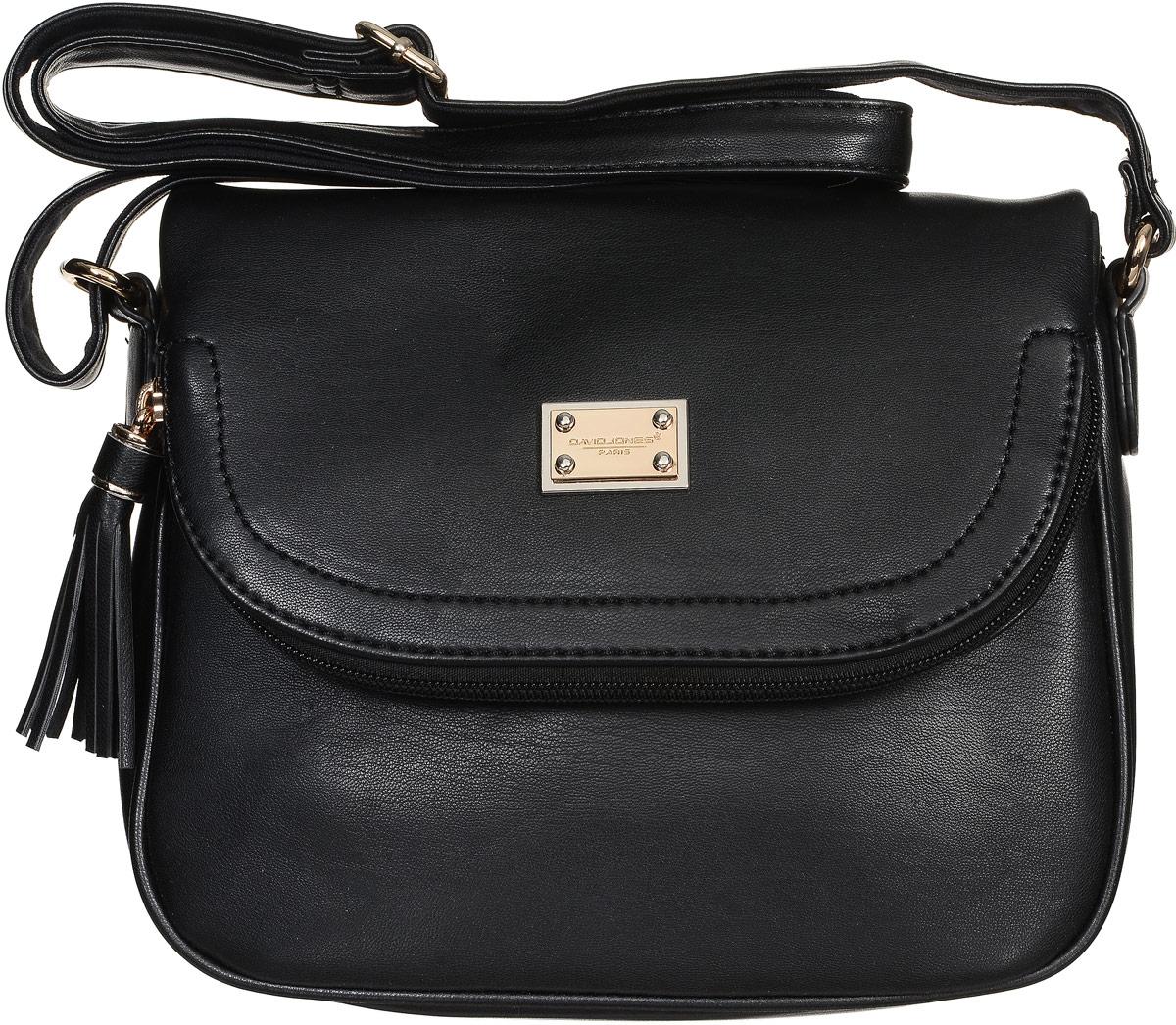Сумка женская David Jones, цвет: черный. СМ3261СМ3261 BLACKСтильная женская сумка David Jones изготовлена из искусственной кожи и текстиля. Изделие имеет одно основное отделение, внутри которого расположены накладной открытый карман и прорезной карман на застежке-молнии. Застегивается сумка на застежку-молнию и дополнительно на клапан с магнитной кнопкой. Клапан оснащен карманом на застежке-молнии. На задней стенке предусмотрен прорезной карман на застежке-молнии. Сумка оснащена регулируемым плечевым ремнем. Модная сумка внесет элегантные нотки в ваш образ и подчеркнет ваше отменное чувство стиля.