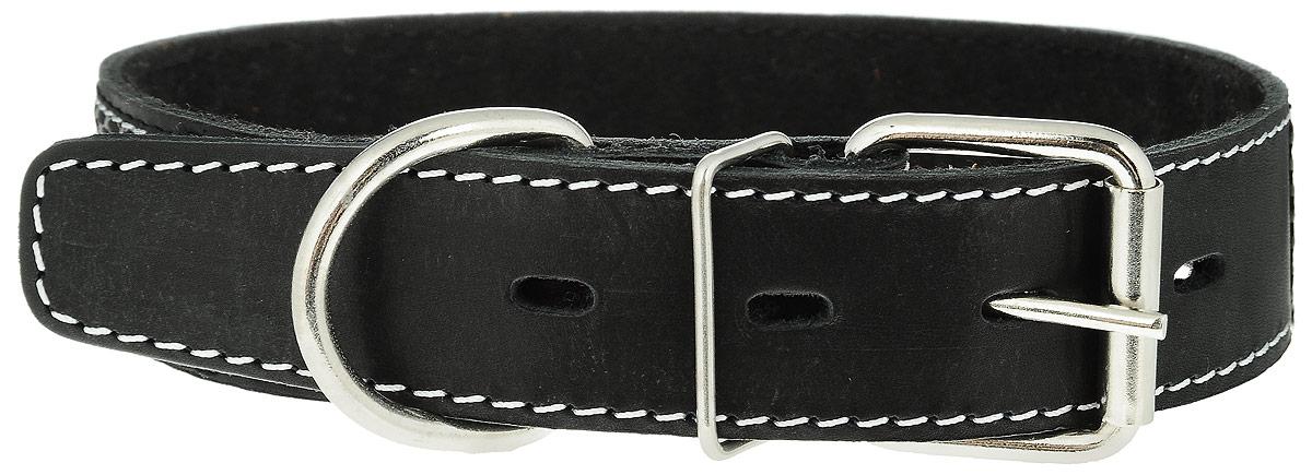 Ошейник для собак Каскад Классика, цвет: черный, серый, ширина 3,5 см, обхват шеи 50-59 см. 00035303ч00035303ч_черный, серыйОшейник для собак Каскад Классика изготовлен из кожи и декорирован оригинальной тесьмой. Он устойчив к влажности и перепадам температур. Внутренняя сторона ошейника выполнена из синтепона. Клеевой слой, сверхпрочные нити, крепкие металлические элементы делают ошейник надежным и долговечным. Обхват ошейника регулируется при помощи пряжки. Ошейник оснащен металлическим кольцом для крепления поводка. Изделие отличается высоким качеством, удобством и универсальностью. Минимальный обхват шеи: 50 см. Максимальный обхват шеи: 59 см. Ширина ошейника: 3,5 см. Длина ошейника: 69 см.