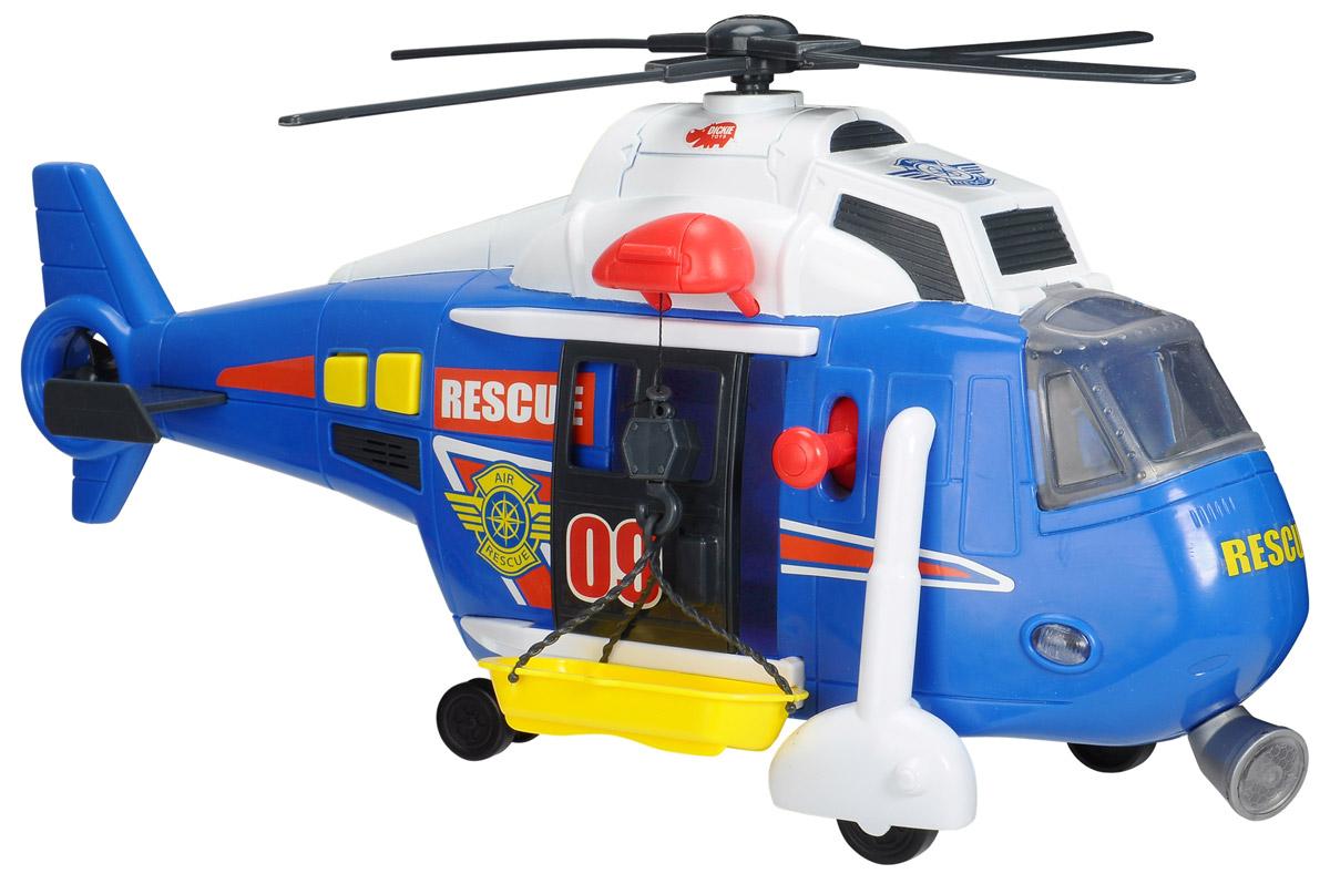 Dickie Toys Вертолет Air Rescue3308356Многофункциональный вертолет Dickie Toys Air Rescue станет отличным подарком для вашего мальчика, в особенности, если он увлечен специальной техникой. Эта замечательная игрушка изготовлена из высококачественного пластика и обладает разными уникальными особенностями. Двери вертолета и стекло кабины открываются, внутрь можно посадить фигурку любимого героя. При нажатии на кнопки, расположенные в хвосте вертолета, крутится винт, слышен звук двигателя, сирена, светятся бортовые огни и прожектор. Лебедка управляется с помощью рычажка, расположенного возле двери. С помощью лебедки можно поднимать и опускать спасательную люльку (в комплекте). С этой игрушкой ваш малыш будет часами занят игрой. Порадуйте его таким замечательным подарком! Для работы игрушки необходимы 3 батарейки напряжением 1,5V типа АА (товар комплектуется демонстрационными).