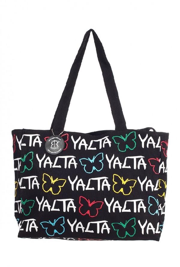 Сумка женская Robin Ruth Yalta, цвет: черный, белый. BYA005-ABYA005-AОригинальная женская сумка Robin Ruth Yalta выполнена из текстиля. Сумка состоит из одного основного отделения, которое закрывается на застежку-молнию. Сумка оснащена ручками для удобной переноски. Модель оформлена принтом с яркими надписями.