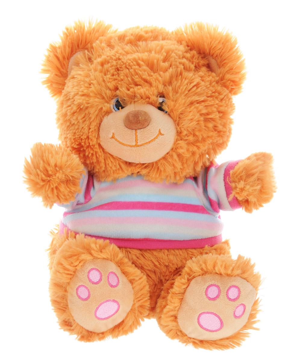 Lava Мягкая озвученная игрушка Медвежонок Сема в кофточке 24 смLA 8355AМягкая озвученная игрушка Lava Медвежонок Сема станет поистине незабываемым подарком для каждого ребенка. Мягкая игрушка ассоциируется с радостью и весельем. Забавная, добрая игрушка будет радовать малыша с самого рождения. Игрушка выполнена в виде очаровательного медведя в полосатой кофточке. Нажав медвежонку на живот, вы услышите маленький рассказ про кашу. Мягкие игрушки помогают познавать окружающий мир через тактильные ощущения, знакомят с животным миром нашей планеты, формируют цветовосприятие и способствуют концентрации внимания. Работает игрушка от незаменяемых батареек.