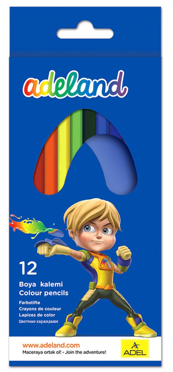 Adel Набор цветных карандашей Adeland 12 шт 211-2315-100211-2315-100Цветные карандаши Adel Adeland созданы специально для маленькой детской руки. Специальная технология проклейки карандаша предотвращает повреждение грифеля при падении. Набор состоит из 12 карандашей ярких цветов. Они упакованы в картонную коробку с изображением героя Hiro из турецкого мультфильма Renk Koruyuculari. Не рекомендуется детям до 3-х лет.