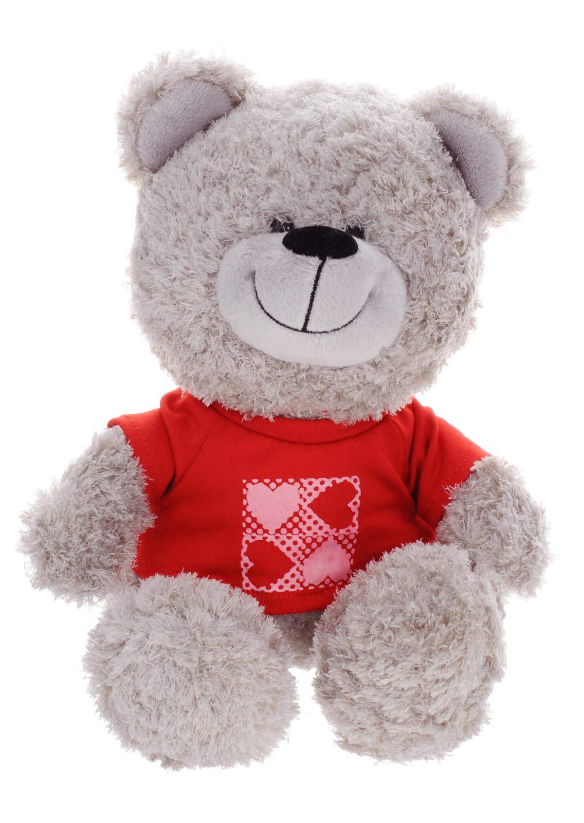 Lava Мягкая озвученная игрушка Медведь в кофточке 23 смLF 1141Мягкая озвученная игрушка Lava Медведь в кофточке вызовет улыбку у каждого, кто ее увидит. Она выполнена из приятного на ощупь текстильного материала серого цвета в виде симпатичного мишки в красной футболке. Если нажать ему на животик, он расскажет ребенку стишок про дружбу. Игрушка подарит своему обладателю хорошее настроение и позволит познакомиться с животным в игровой форме. С мягкой игрушкой ребенок действительно познает мир, играя!