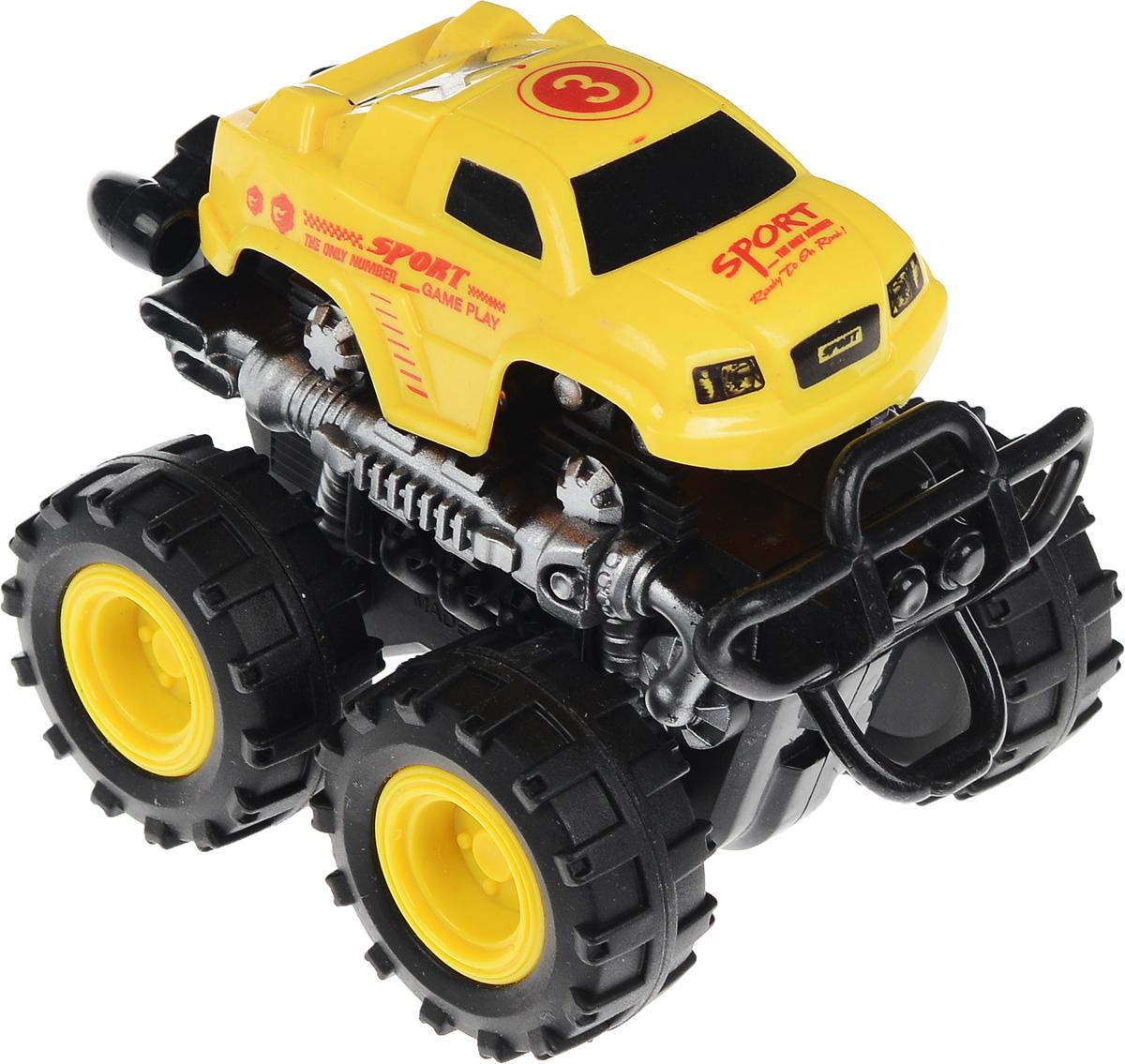 Big Motors Машинка инерционная 4 WD цвет желтый №3806B_желтый №3Инерционная машинка Big Motors 4WD станет любимой игрушкой вашего малыша. Игрушка представляет собой внедорожник с большими ребристыми колесами. Машинка оснащена инерционным механизмом. Достаточно немного подтолкнуть машинку вперед или назад, а затем отпустить, и она сама поедет в ту же сторону. Ваш ребенок будет часами играть с этой машинкой, придумывая различные истории. Порадуйте его таким замечательным подарком!