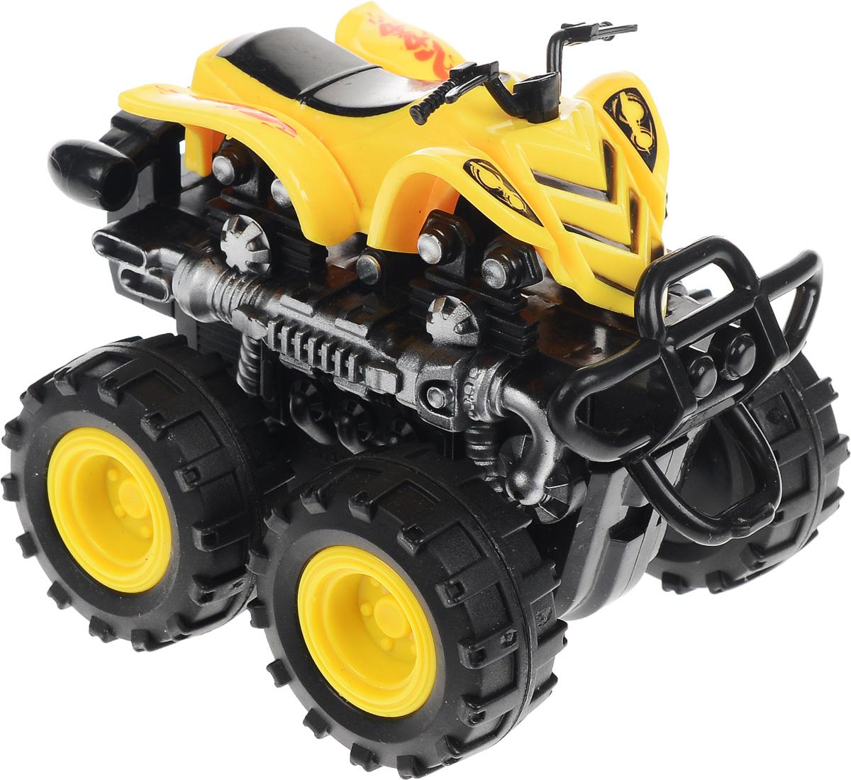 Big Motors Квадроцикл инерционный 4 WD цвет желтый806B_желтый, черныйКвадроцикл инерционный Big Motors 4WD станет любимой игрушкой вашего малыша. Игрушка представляет собой мощный квадроцикл с большими колесами. Машинка оснащена инерционным механизмом. Достаточно немного подтолкнуть машинку вперед или назад, а затем отпустить, и она сама поедет в ту же сторону. Ваш ребенок будет увлеченно играть с этим квадроциклом, придумывая различные истории. Порадуйте его таким замечательным подарком!