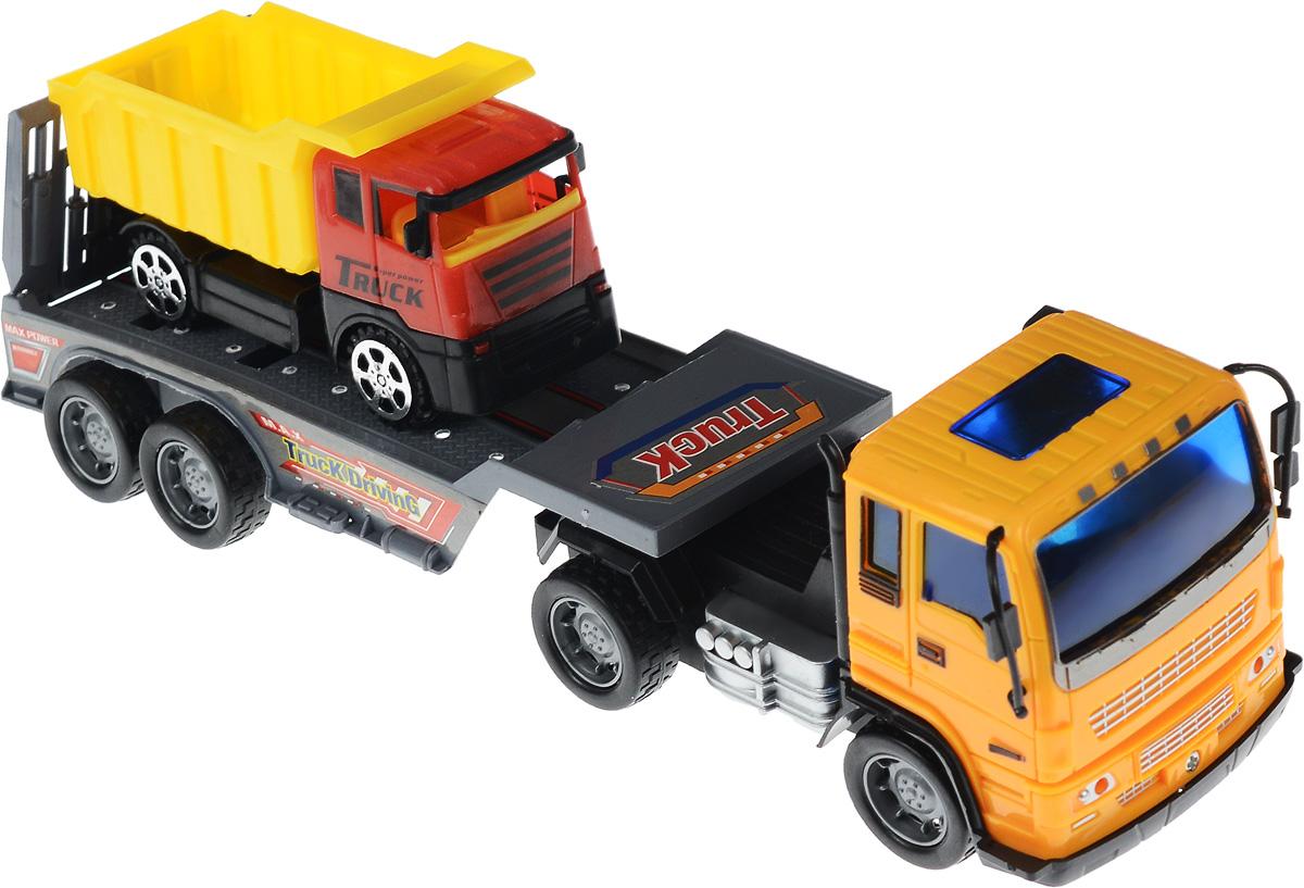 Junfa Toys Автовоз инерционный с самосвалом цвет оранжевый8268-45A_оранжевыйИнерционный автовоз с самосвалом Junfa Toys станет самой любимой игрушкой вашего ребенка. Достаточно большой и вместительный автовоз оборудован просторной площадкой для перевозки автомашин. Он способен уместить даже самосвал, который входит в набор. Автовоз оснащен инерционным механизмом, что позволяет приводить машину в движение без использования батареек. Нужно лишь потянуть машину немного назад, и она по инерции покатится вперед. У самосвала колеса имеют свободный ход. Изделия выполнены из безопасного для ребенка пластика. Порадуйте своего ребенка таким увлекательным подарком! УВАЖАЕМЫЕ КЛИЕНТЫ! Обращаем ваше внимание на возможные изменения в цвете кузова маленькой машинки. Поставка осуществляется в зависимости от наличия на складе.
