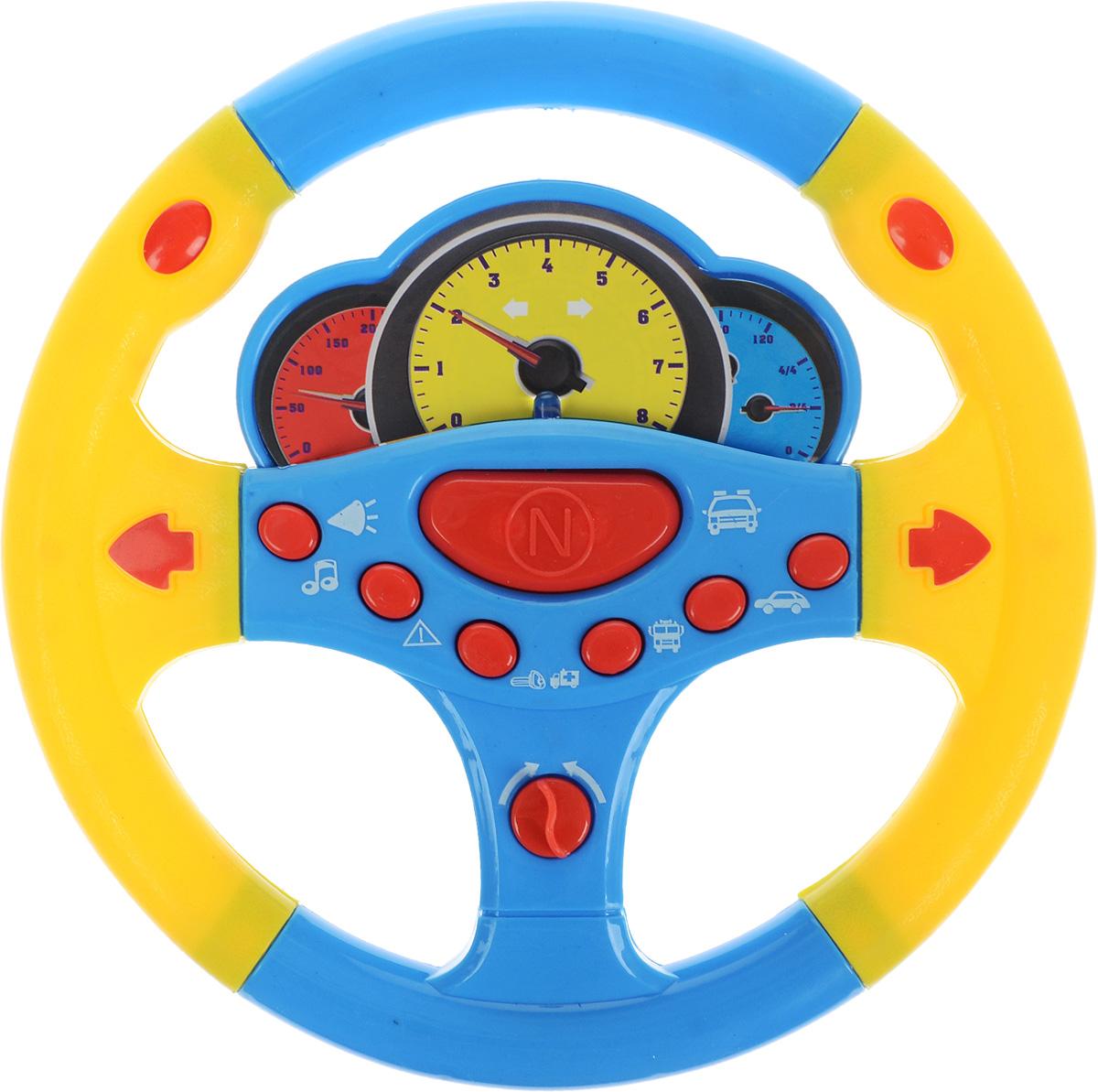 ABtoys Игрушечный музыкальный руль цвет голубой желтый